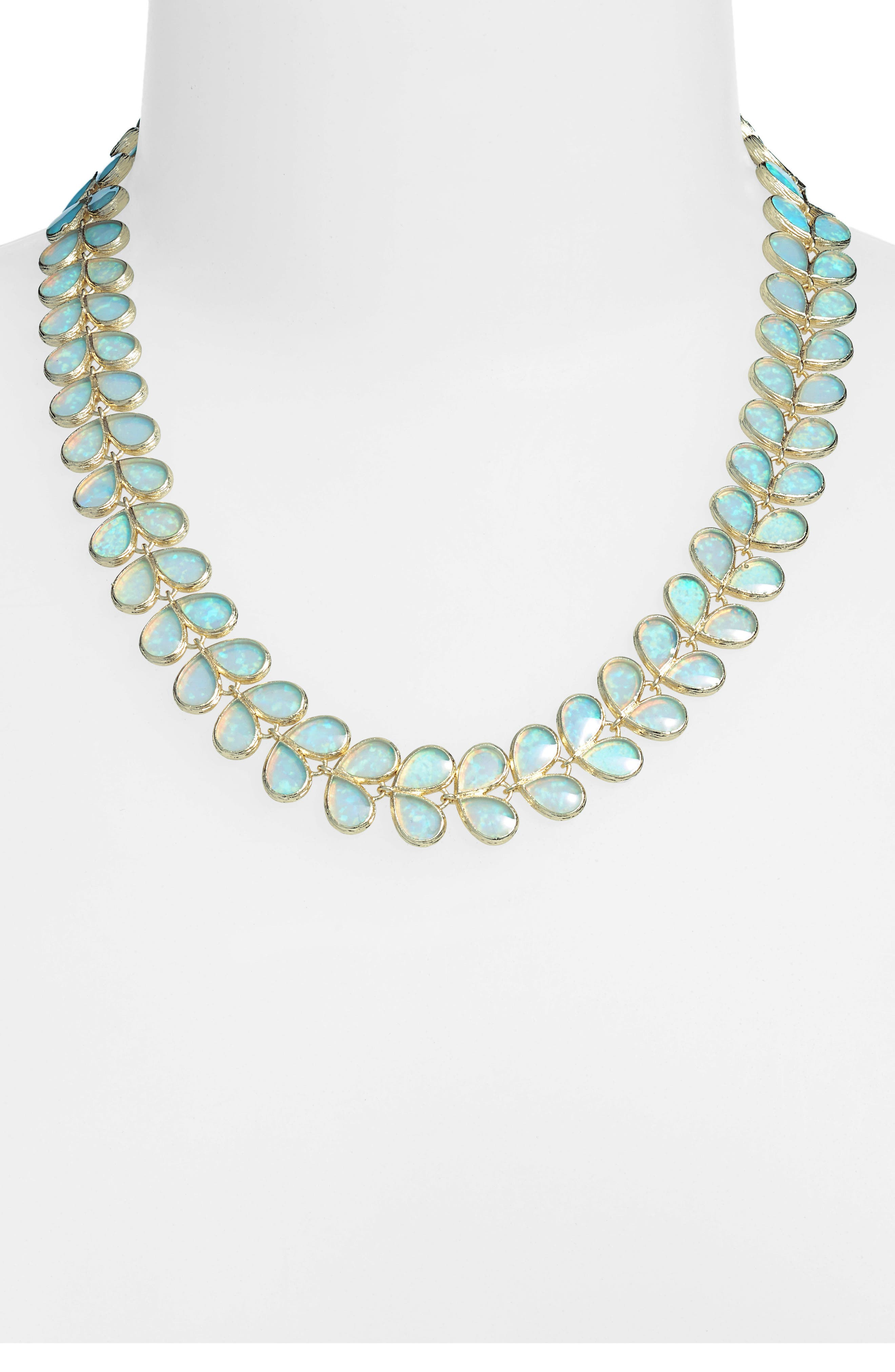 Opal Leaf Necklace,                         Main,                         color, 400
