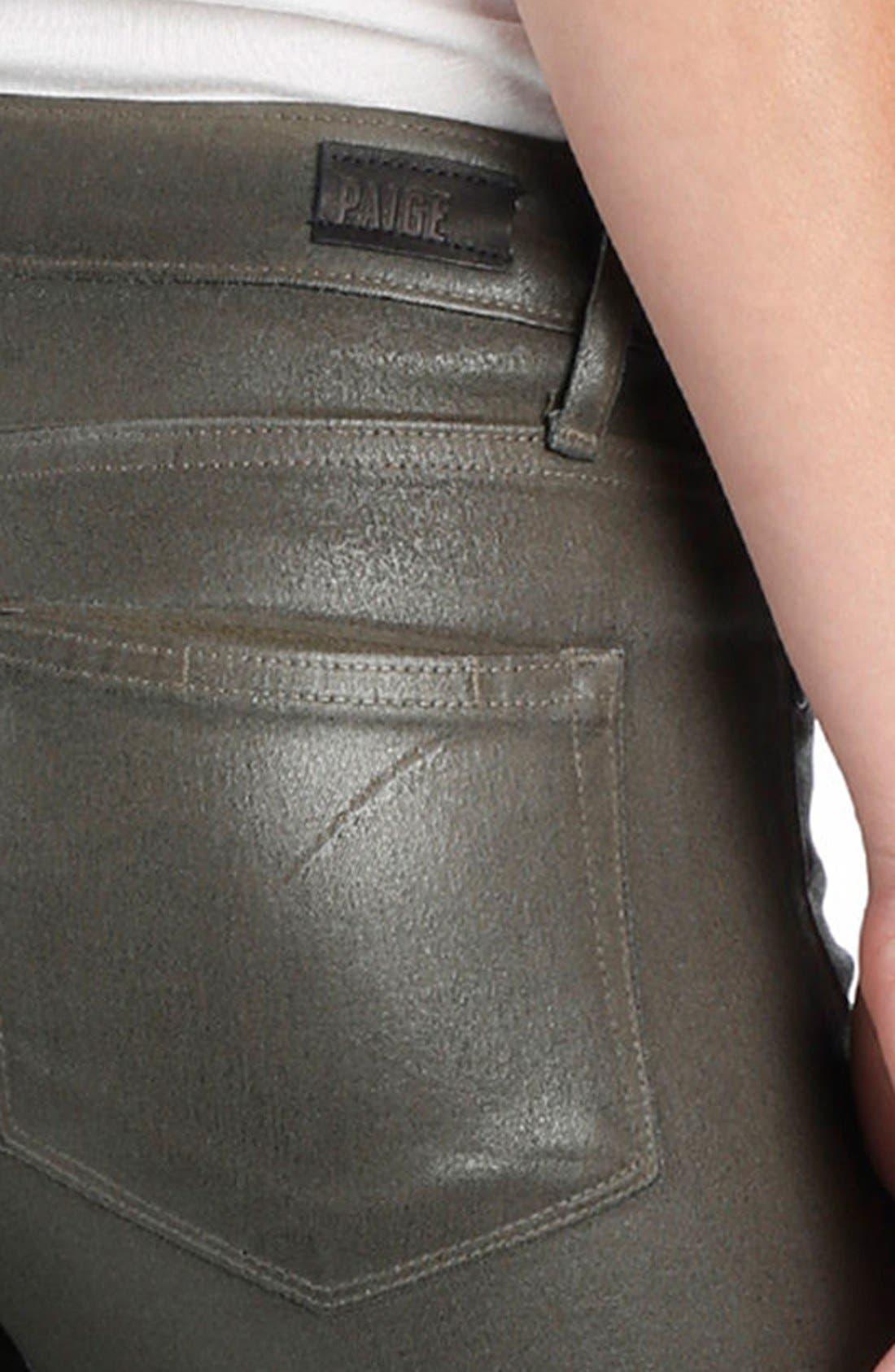 Transcend Verdugo Coated Ultra Skinny Jeans,                             Alternate thumbnail 4, color,                             300