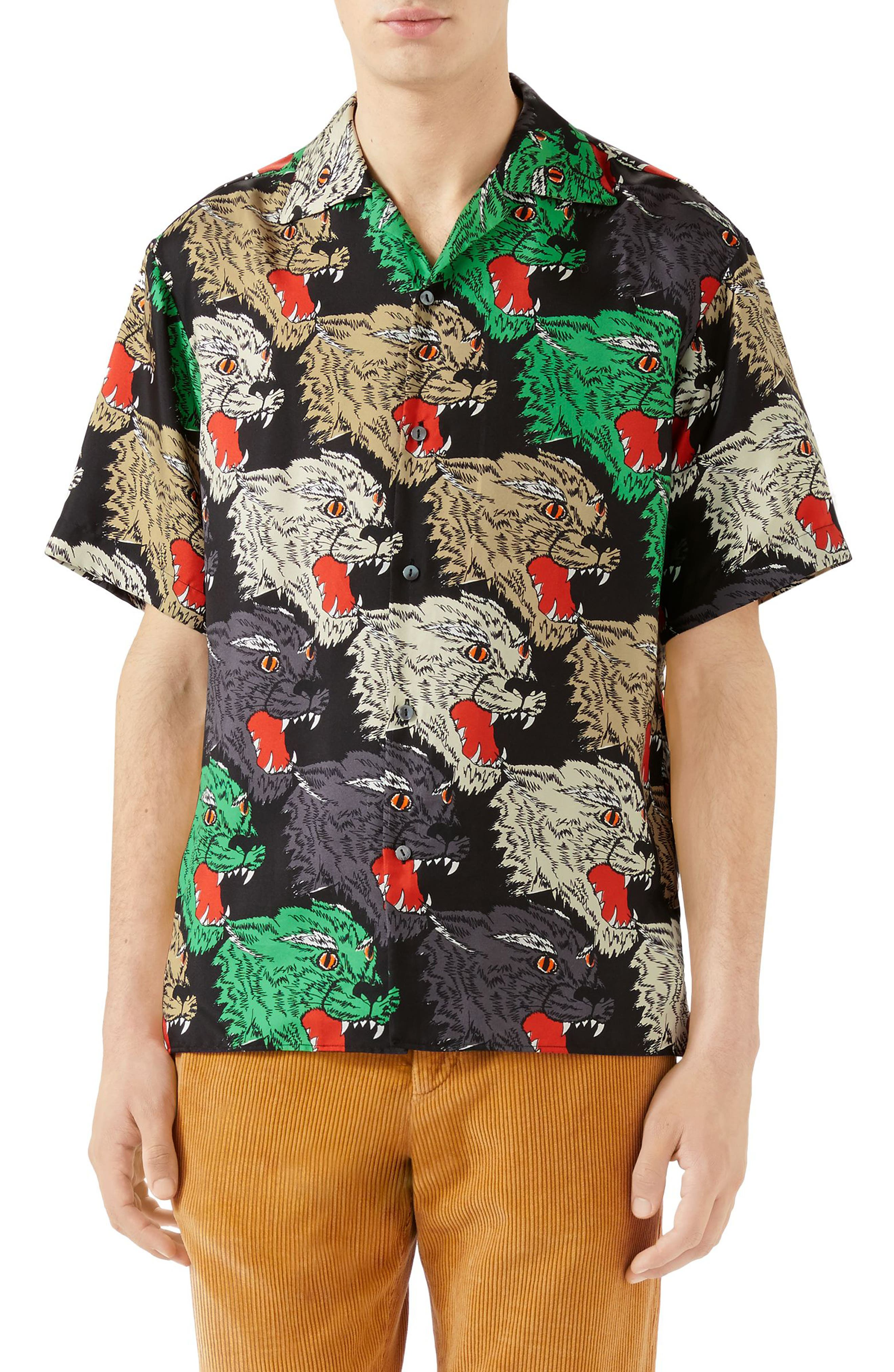 Allover Panther Print Silk Camp Shirt,                         Main,                         color, BLACK