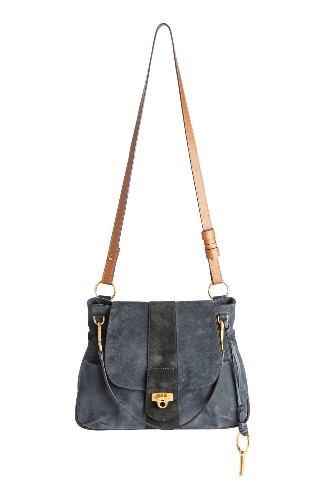'Medium Lexa' Suede Shoulder Bag,                             Main thumbnail 1, color,                             043