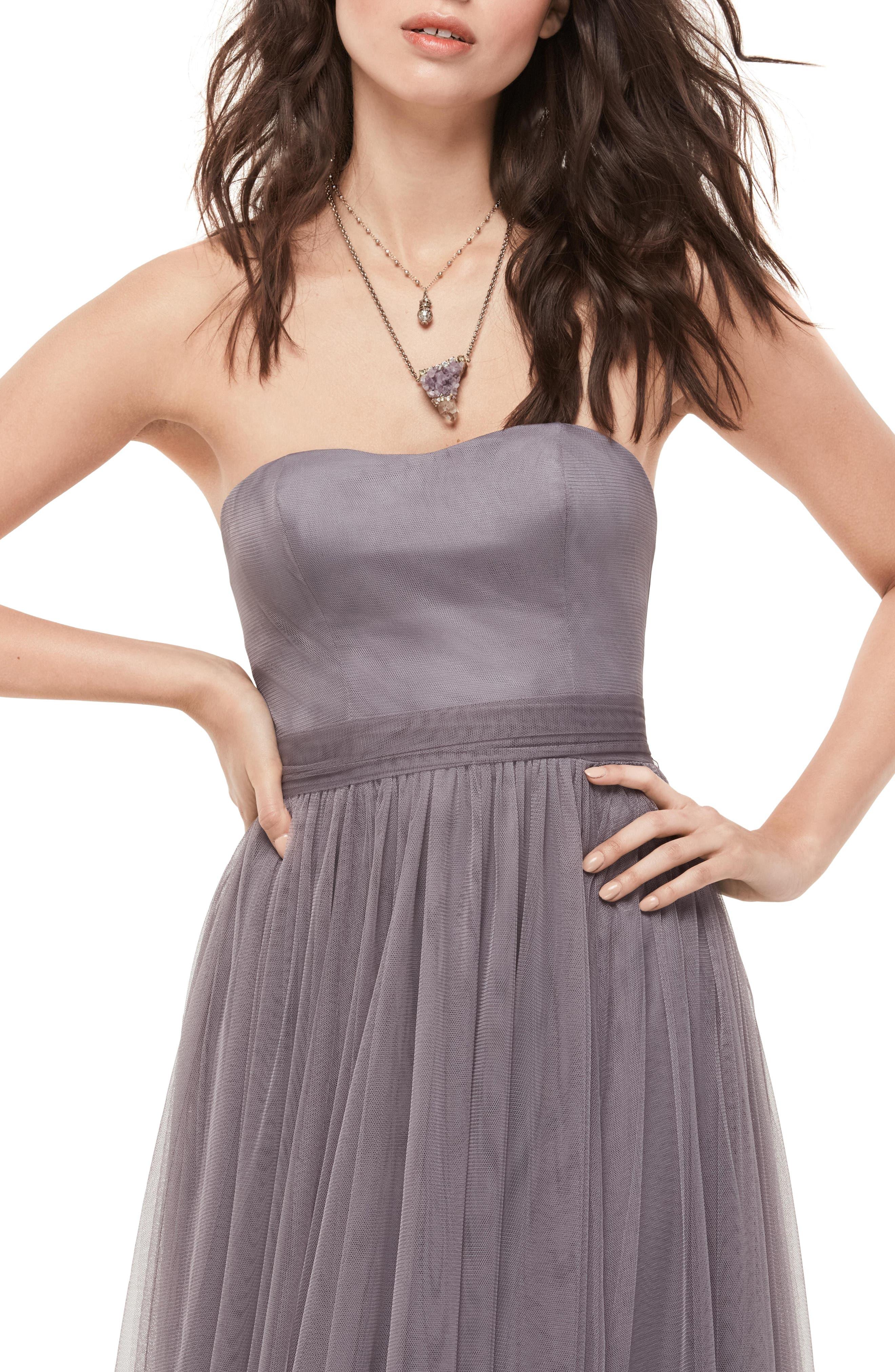 Bobbinet Strapless Gown,                             Alternate thumbnail 3, color,                             030