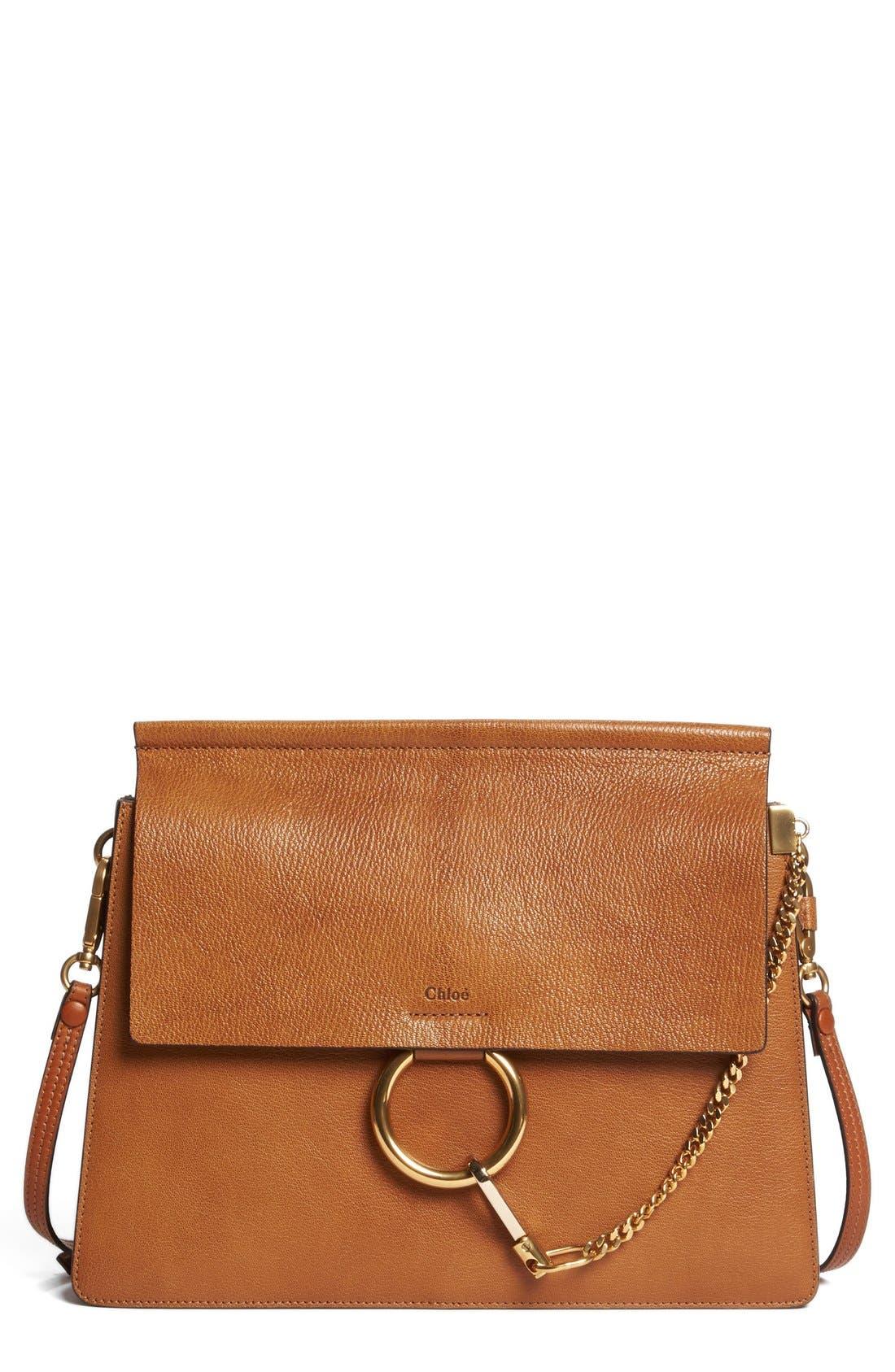 Faye Goatskin Leather Shoulder Bag,                             Main thumbnail 1, color,