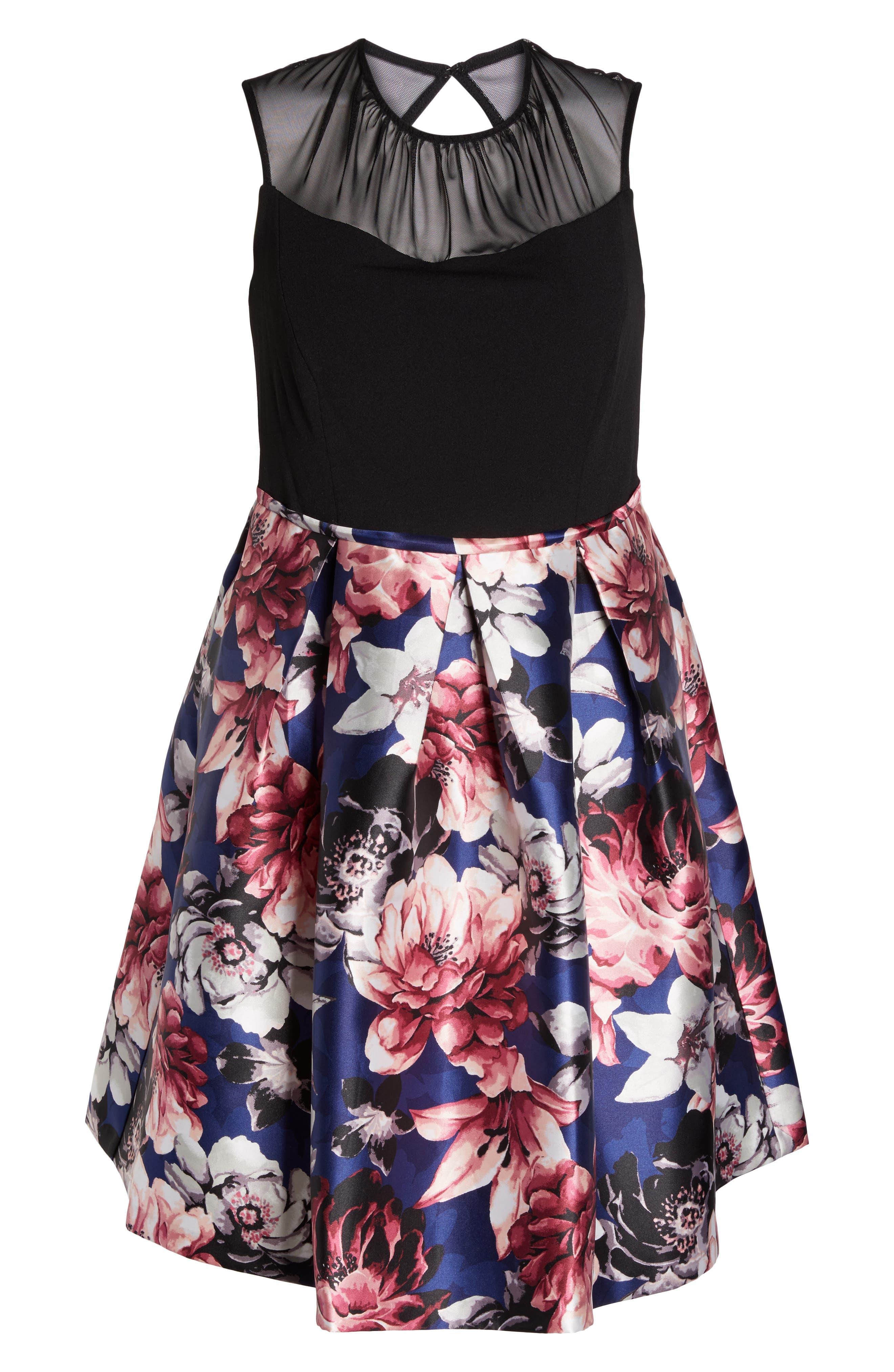 Illusion Neck Floral Fit & Flare Dress,                             Alternate thumbnail 6, color,