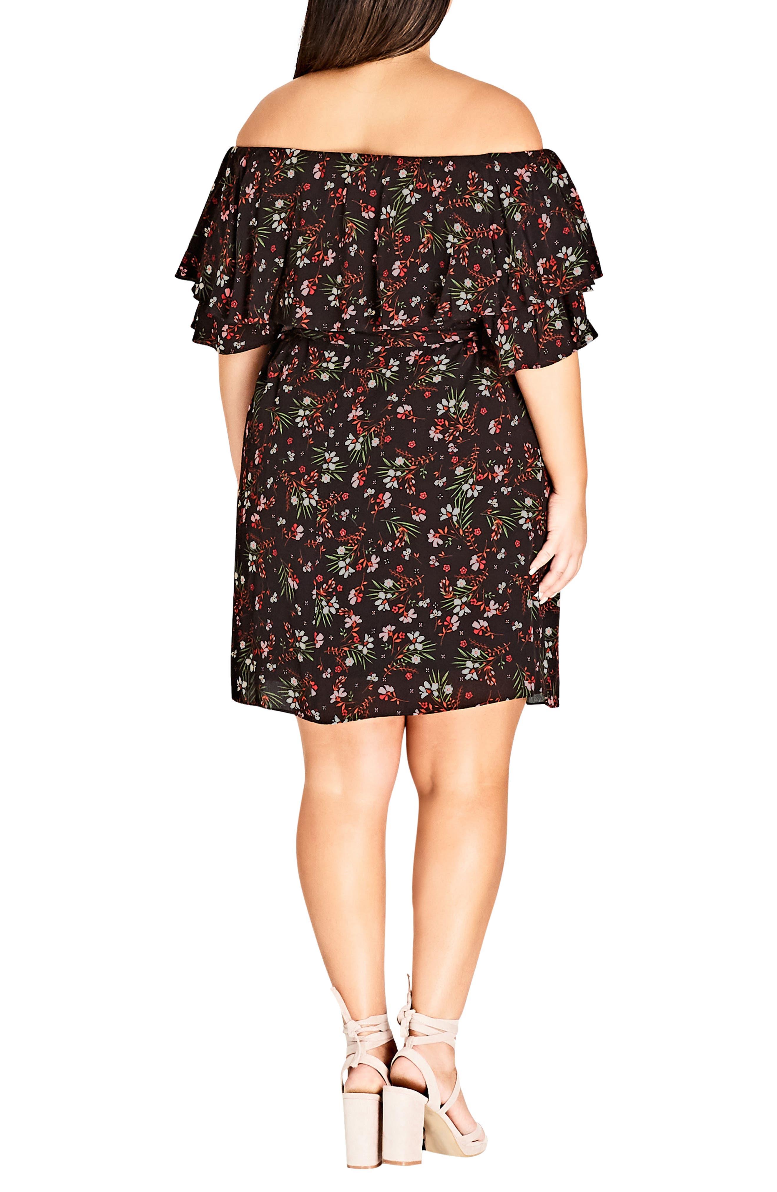 Fresh Floral Off the Shoulder Dress,                             Alternate thumbnail 2, color,                             FRESH FLORAL
