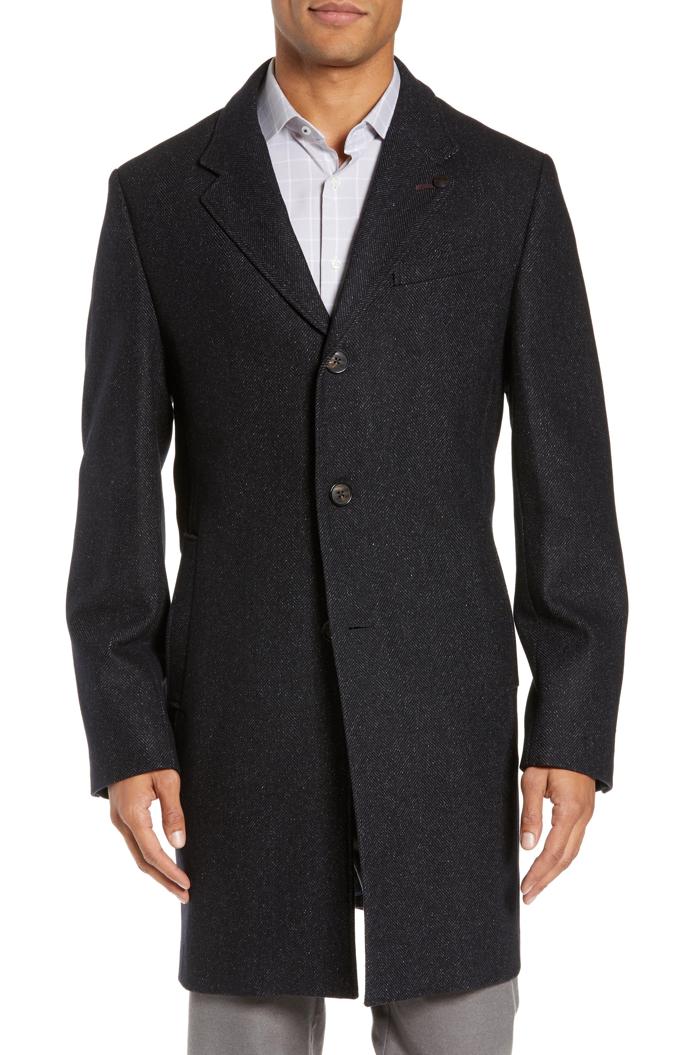 Herringbone Wool Blend Overcoat,                             Alternate thumbnail 4, color,                             NAVY