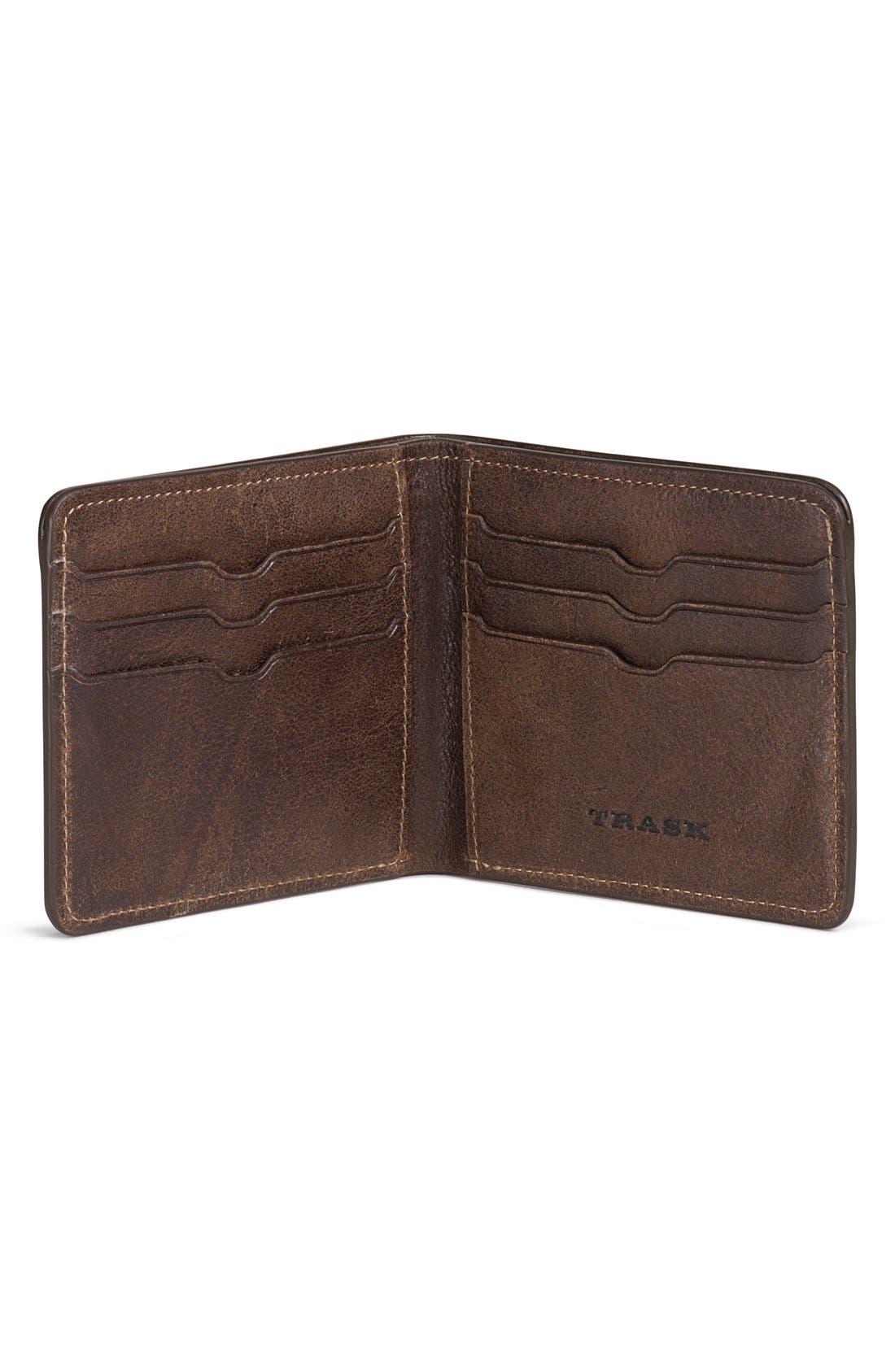 'Jackson' Slimfold Bison Leather Wallet,                             Alternate thumbnail 2, color,                             WALNUT