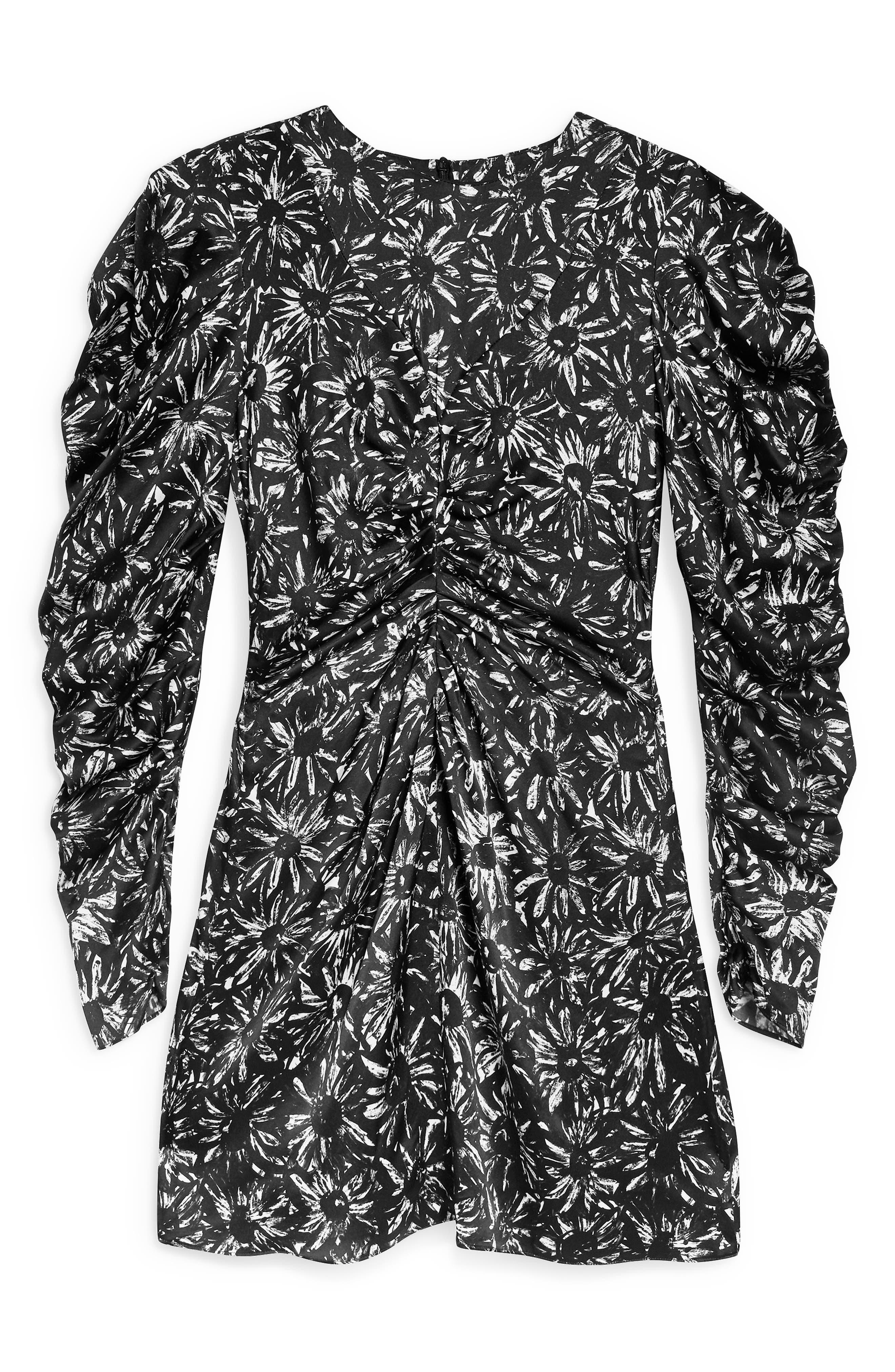 Daisy Ruched Minidress,                             Alternate thumbnail 4, color,                             BLACK MULTI