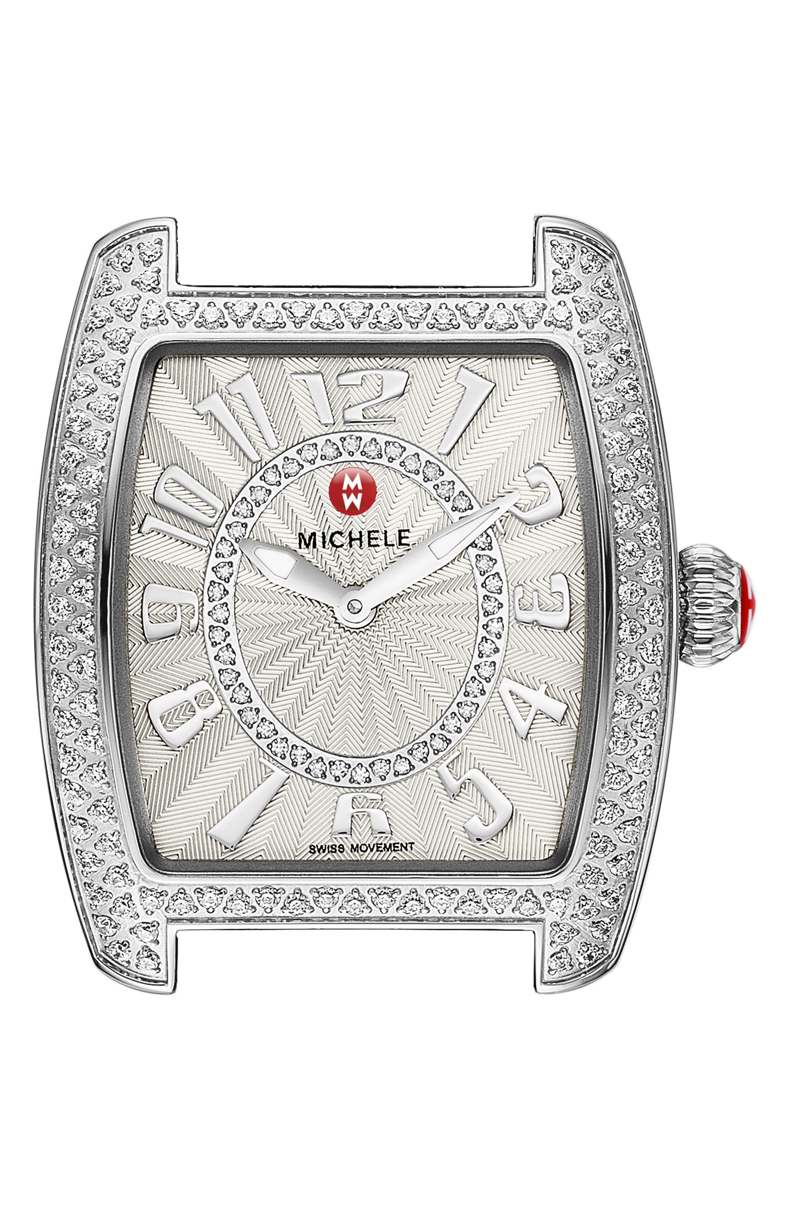 Urban Mini Diamond Dial Watch Head, 29mm x 31mm,                             Main thumbnail 1, color,                             SILVER
