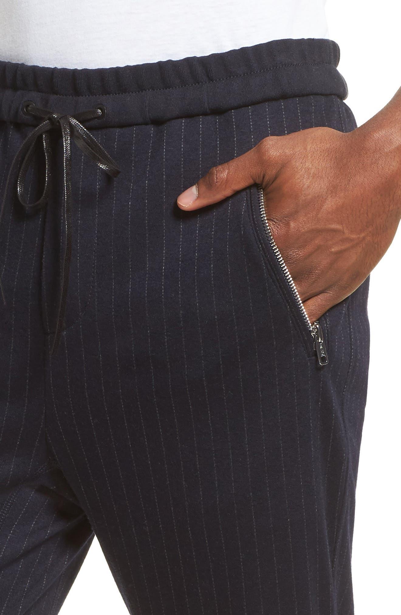 Pinstripe Tapered Jogger Pants,                             Alternate thumbnail 4, color,                             410