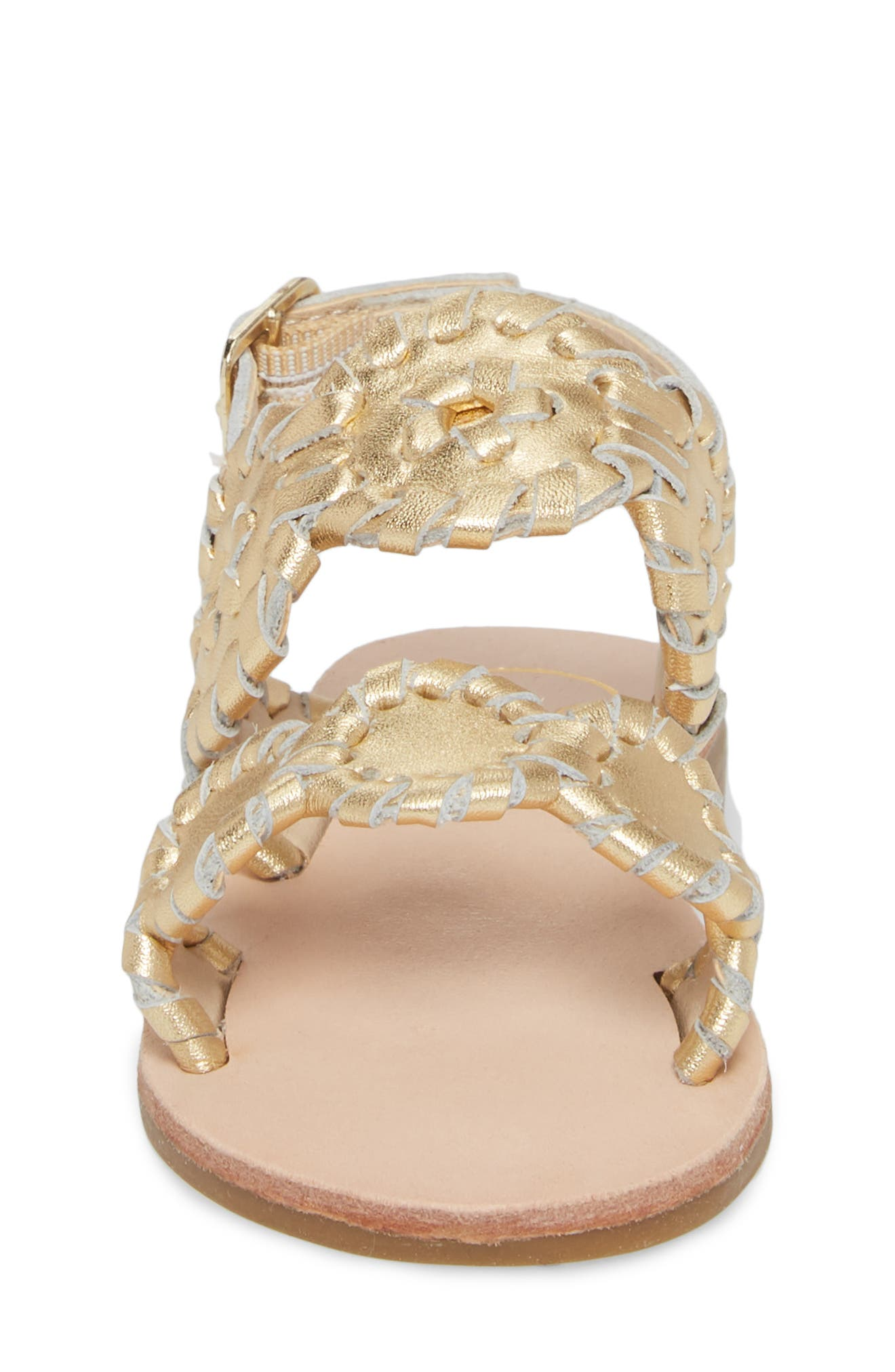 Little Miss Lauren Sandal,                             Alternate thumbnail 4, color,                             GOLD LEATHER