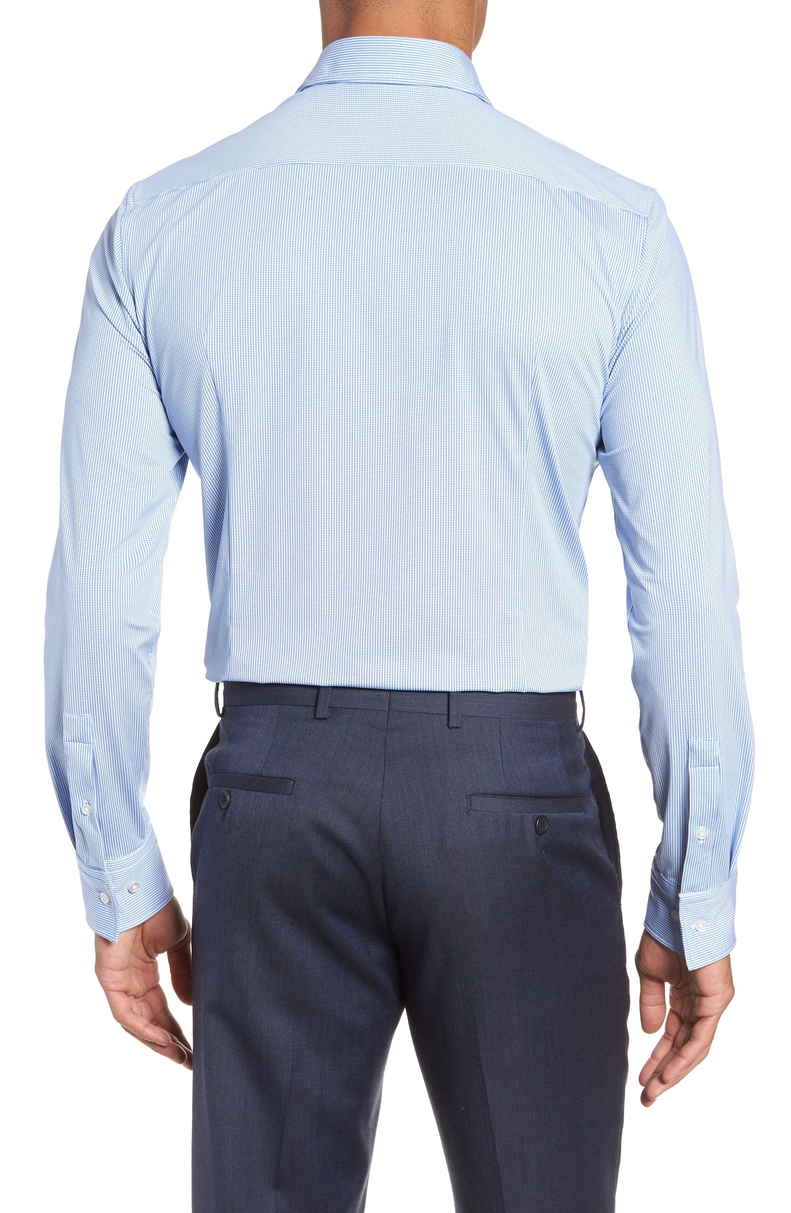 Jenno Slim Fit Stretch Check Dress Shirt,                             Alternate thumbnail 3, color,                             BLUE