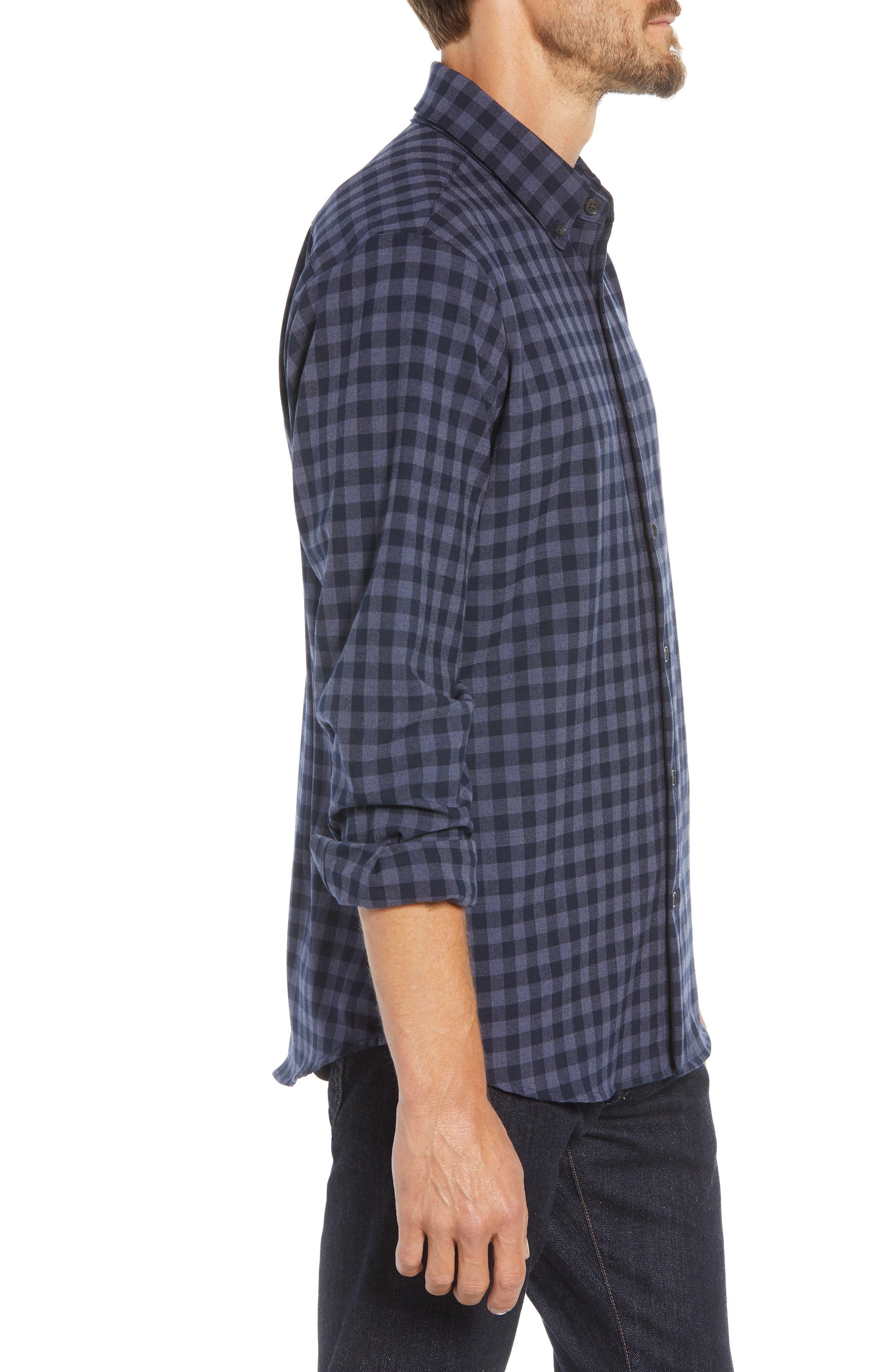 Palmetto Regular Fit Flannel Sport Shirt,                             Alternate thumbnail 4, color,                             NAVY
