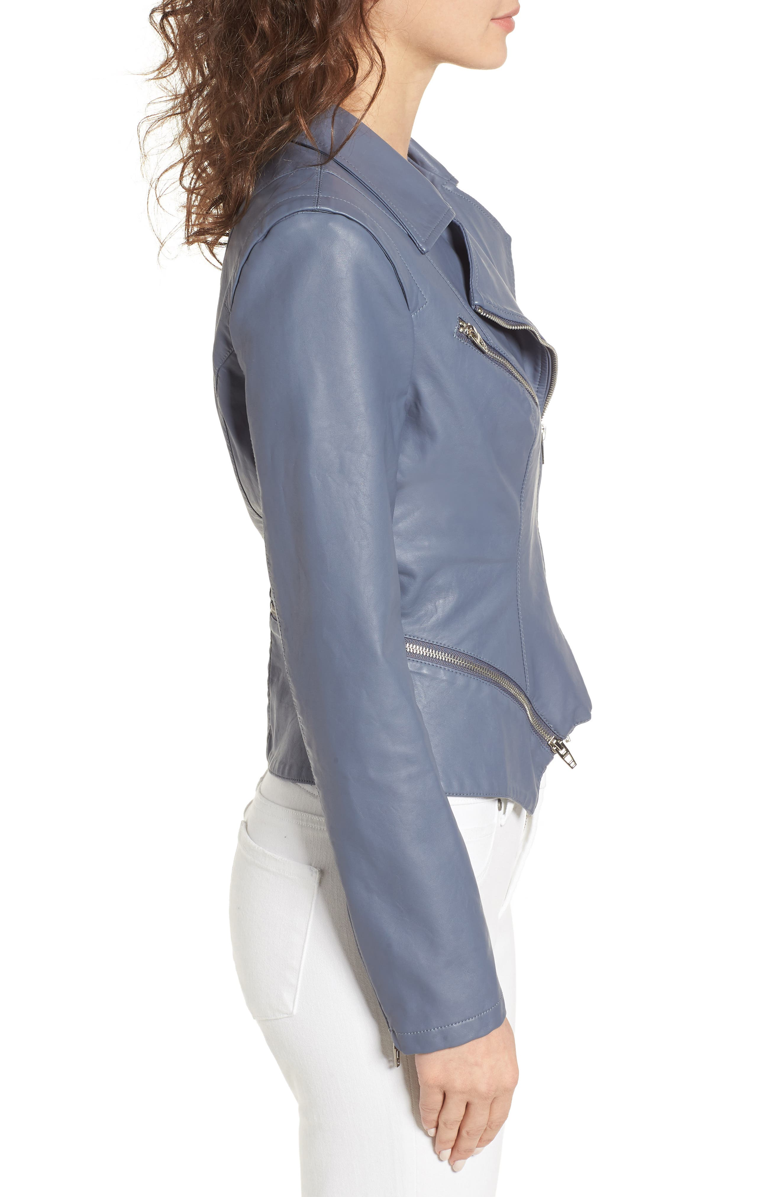 Faux Leather Moto Jacket,                             Alternate thumbnail 3, color,                             GREY GRISAILLE