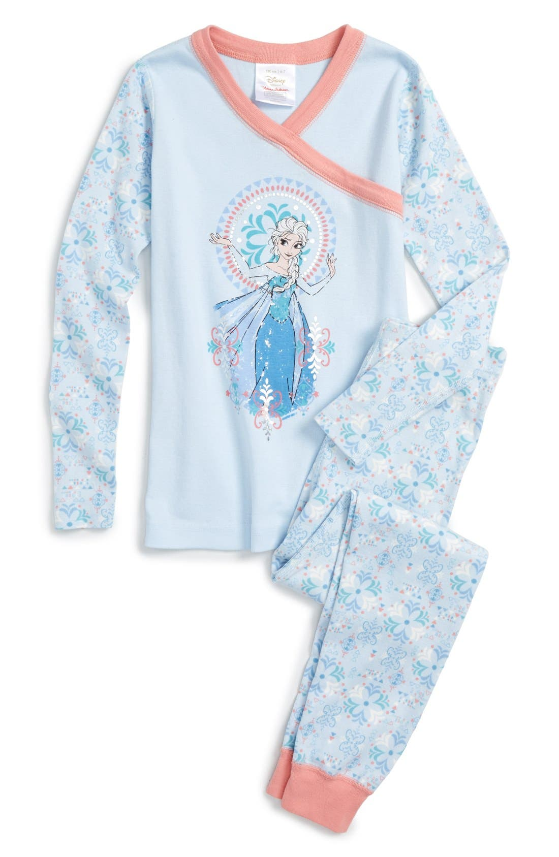 'Disney<sup>®</sup> Frozen' Organic Cotton Two-Piece Fitted Pajamas, Main, color, 418