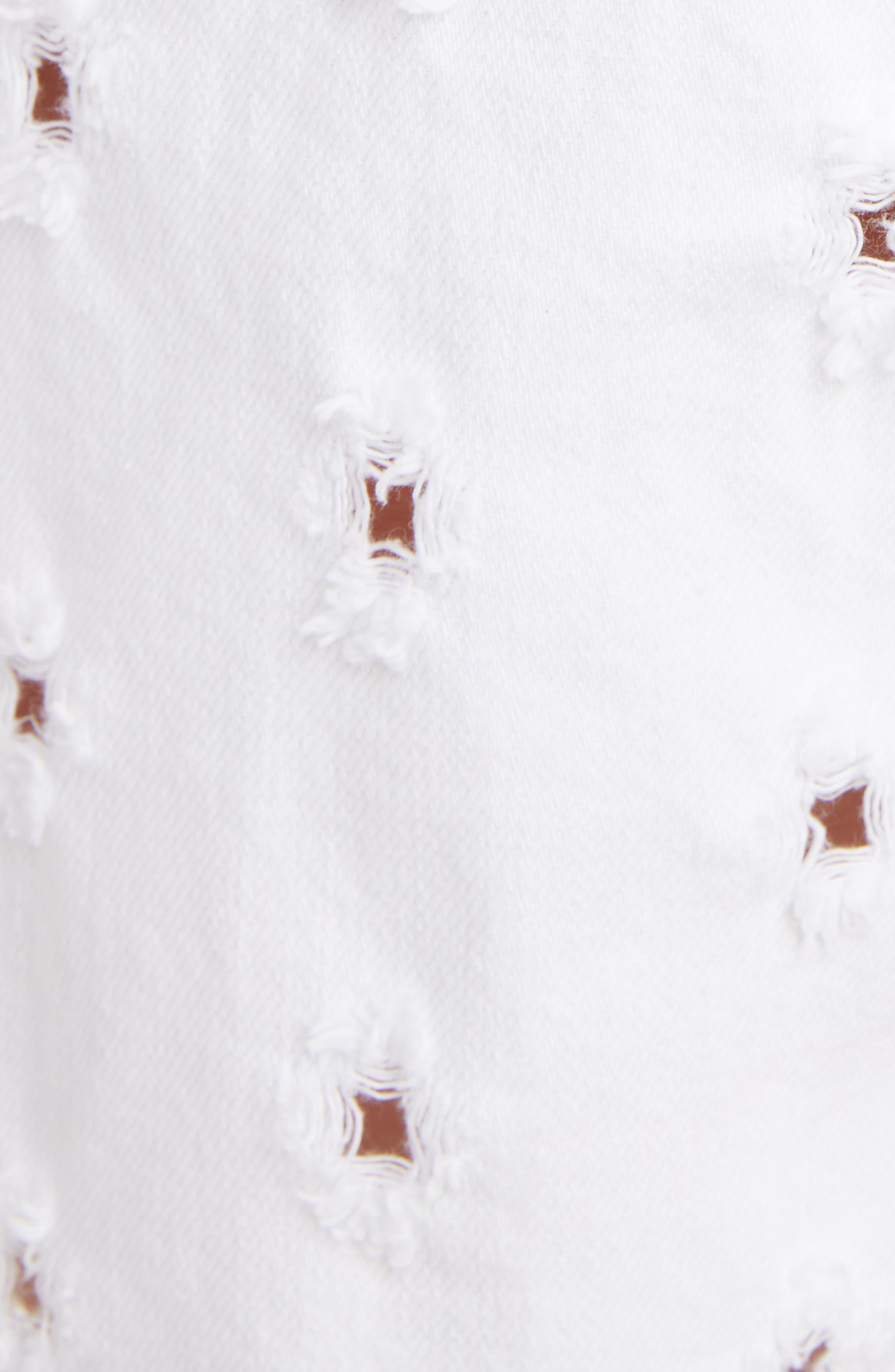 Liny Shredded Dot Denim Shorts,                             Alternate thumbnail 6, color,                             WHITE