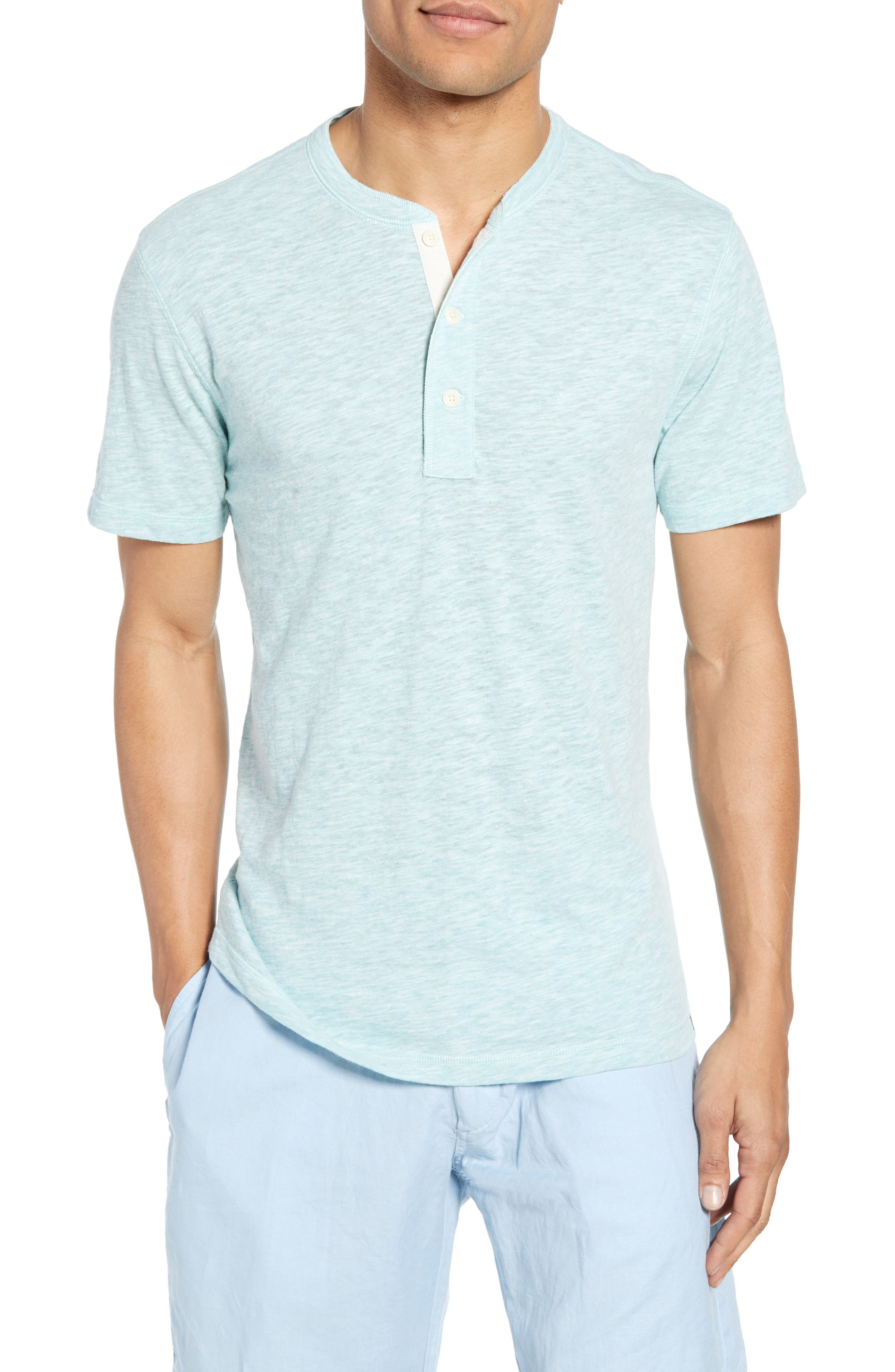 Faherty Heathered Henley, Green