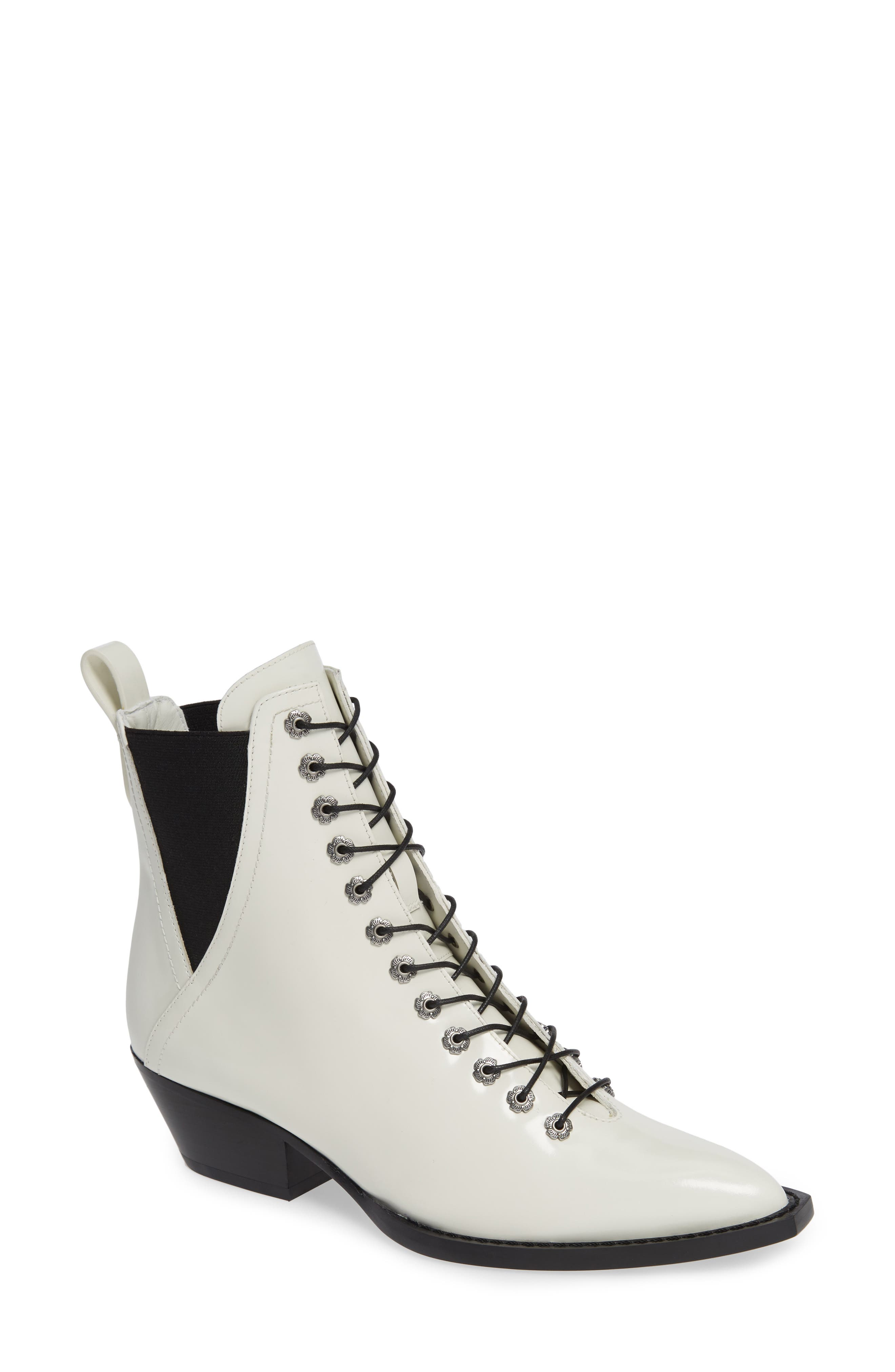 Lace-Up Bootie,                             Main thumbnail 1, color,                             IVORY LEATHER