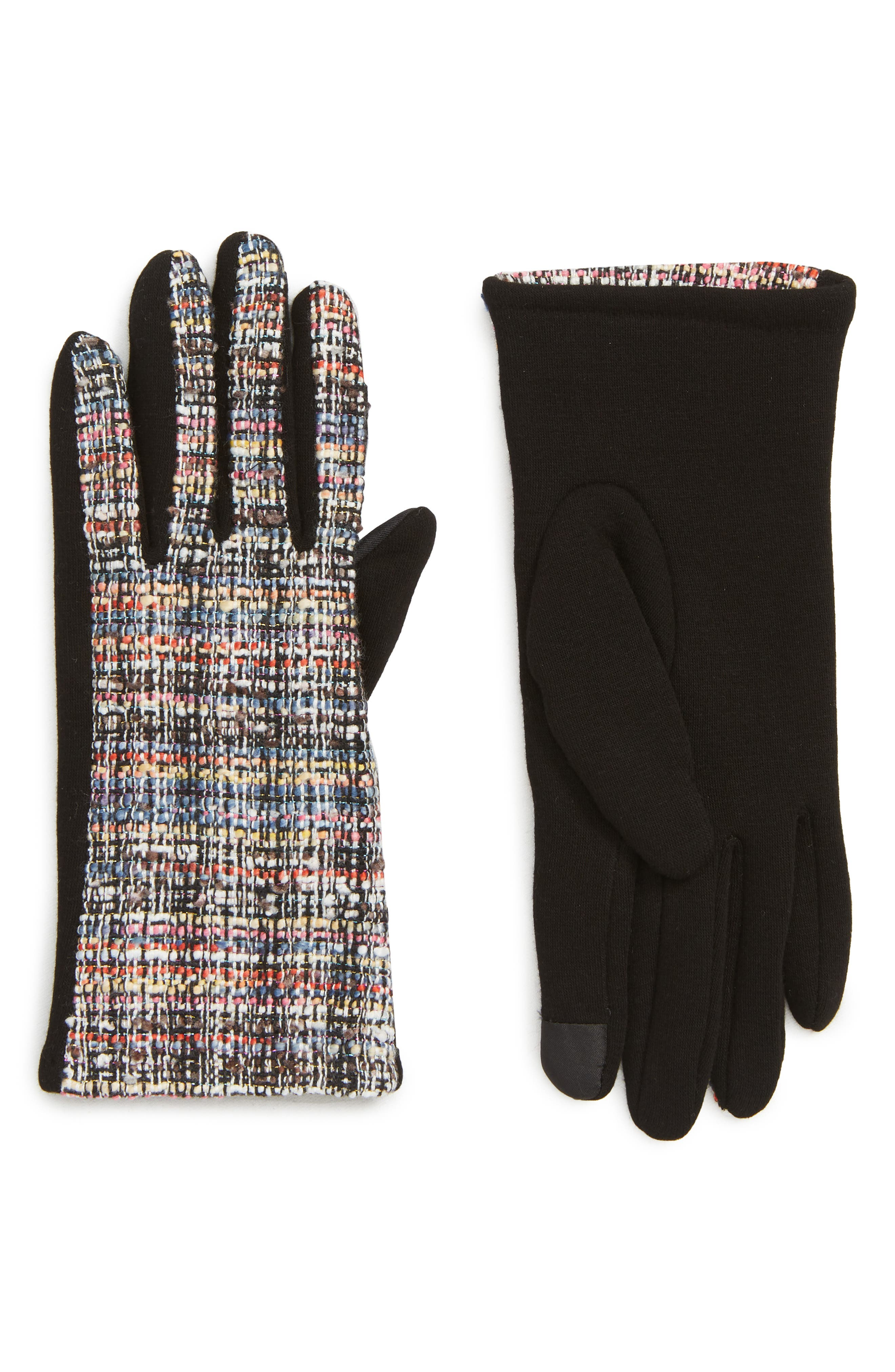 Tweed Touchscreen Compatible Gloves,                             Main thumbnail 1, color,                             BLACK MULTI