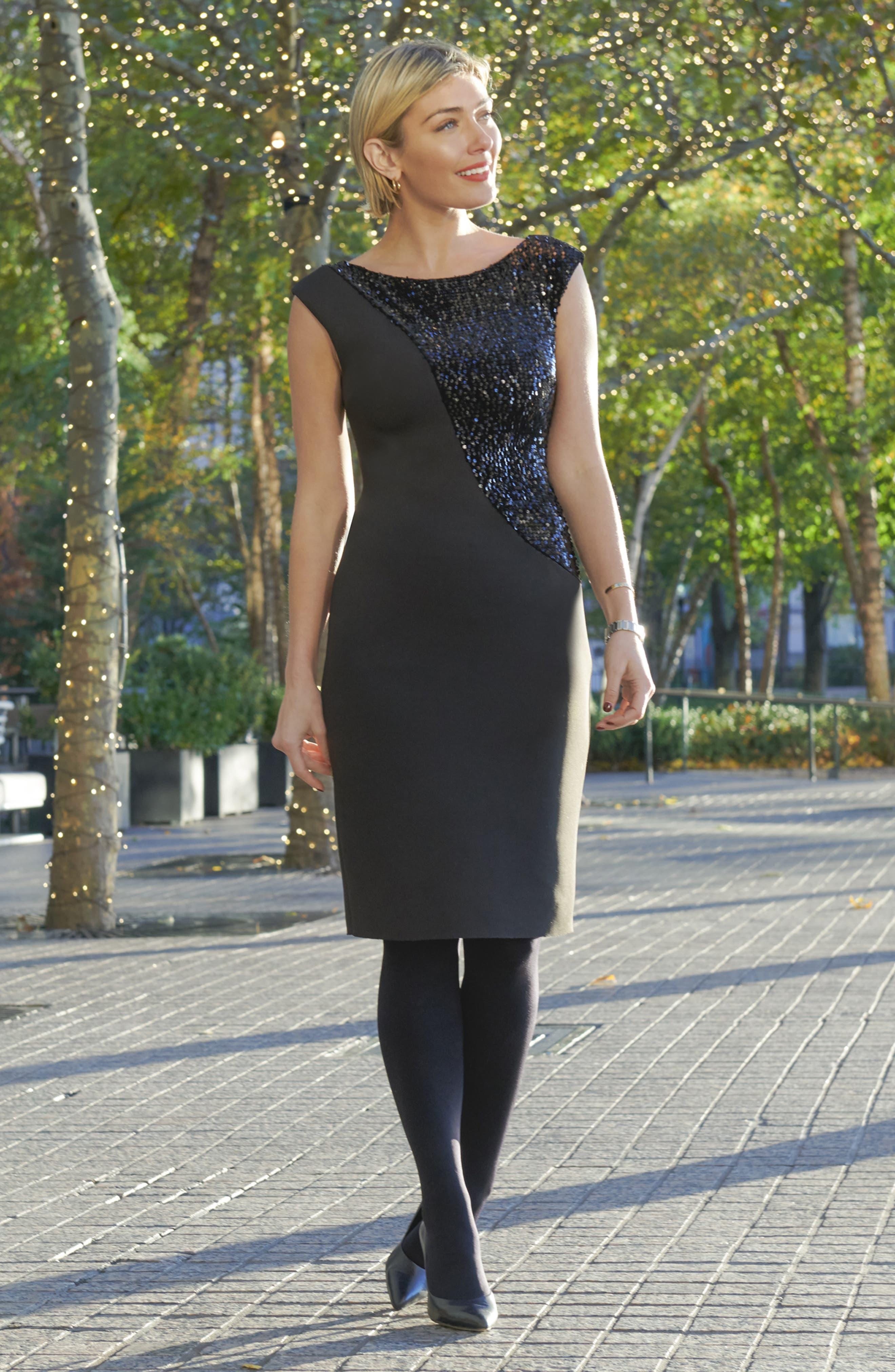 Sequin Swath Sheath Dress,                             Alternate thumbnail 7, color,                             BLACK