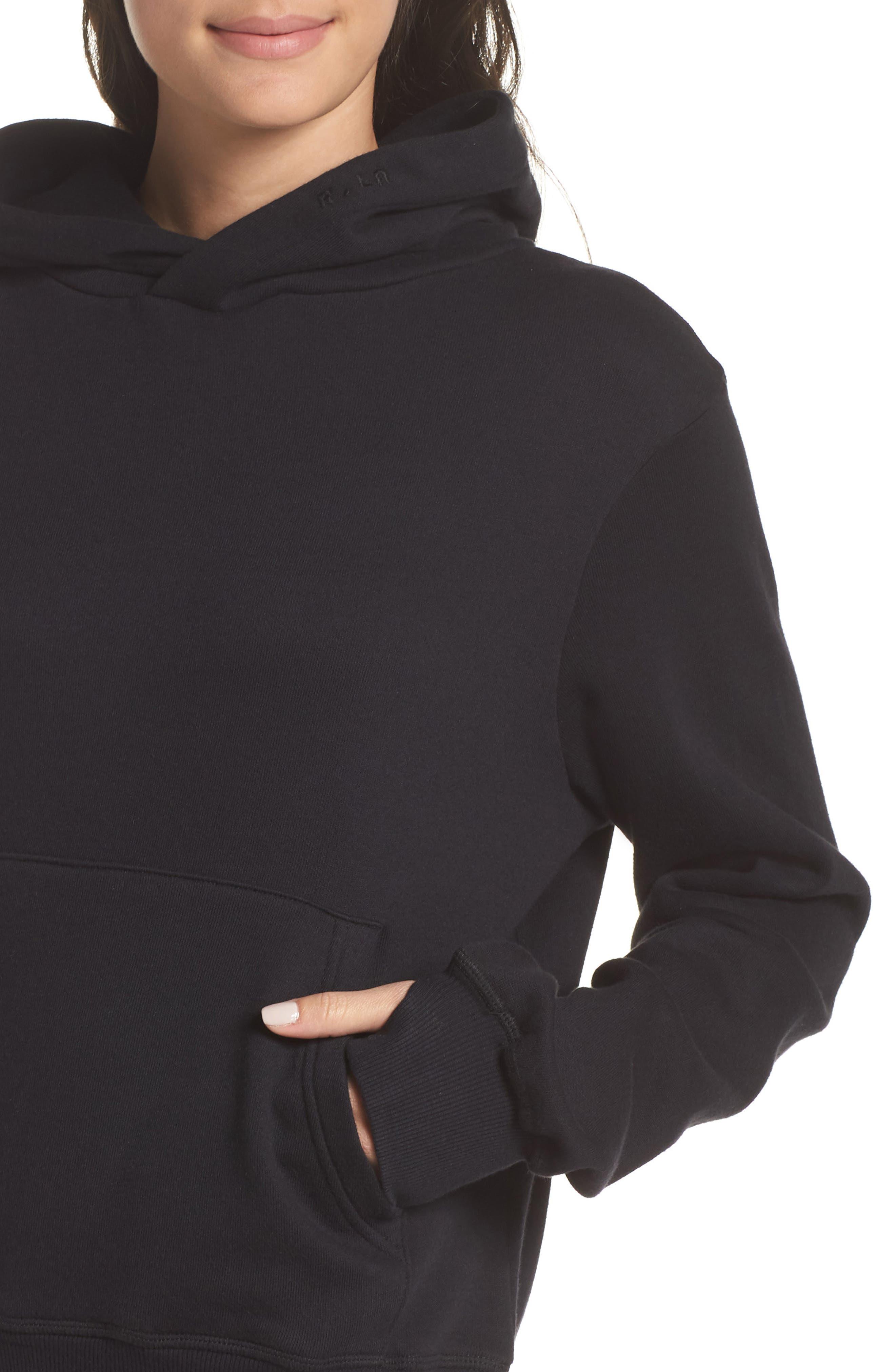 Hoodie Sweatshirt,                             Alternate thumbnail 4, color,                             BLACK