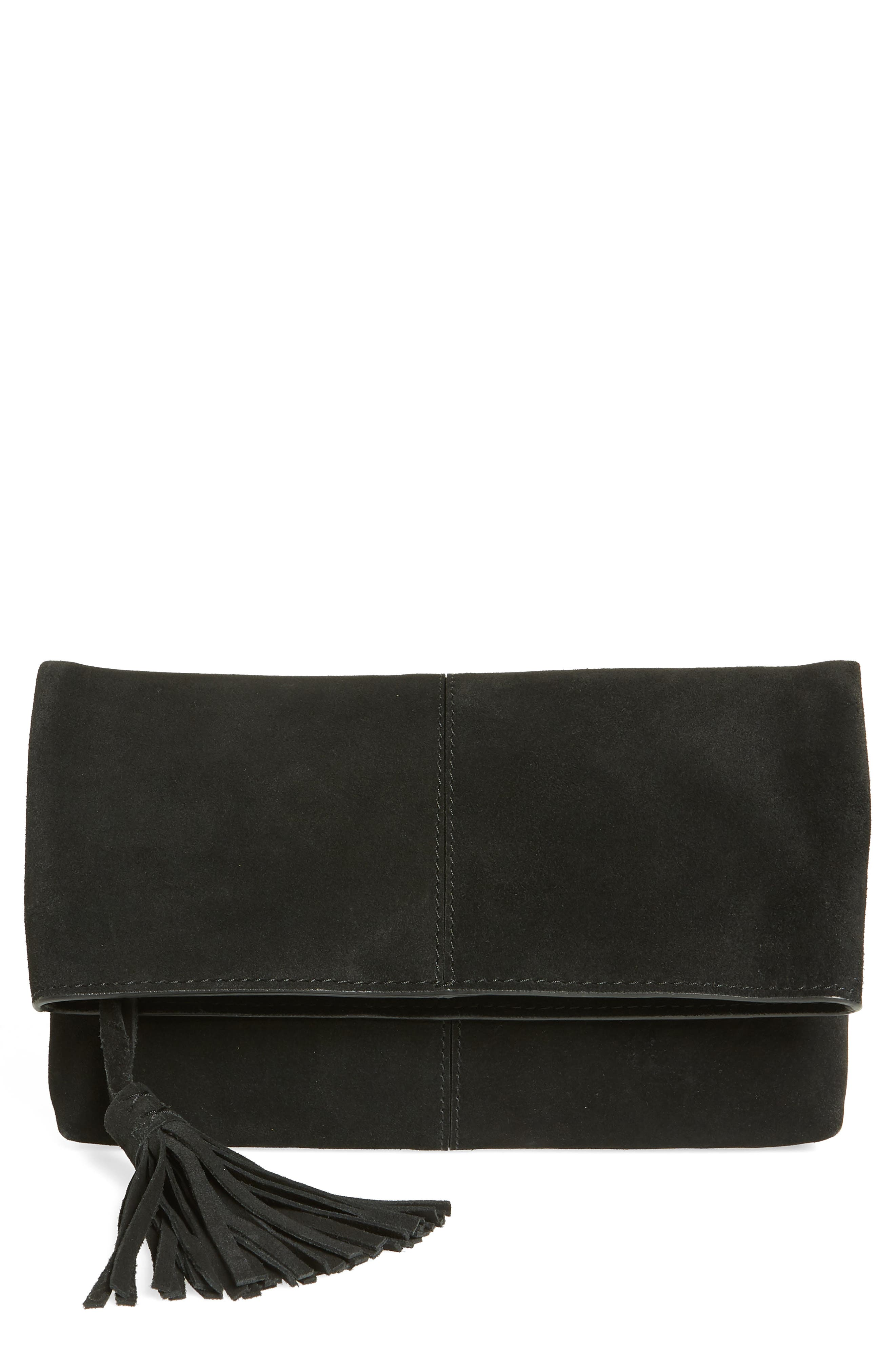 Suede Clutch,                             Main thumbnail 1, color,                             BLACK