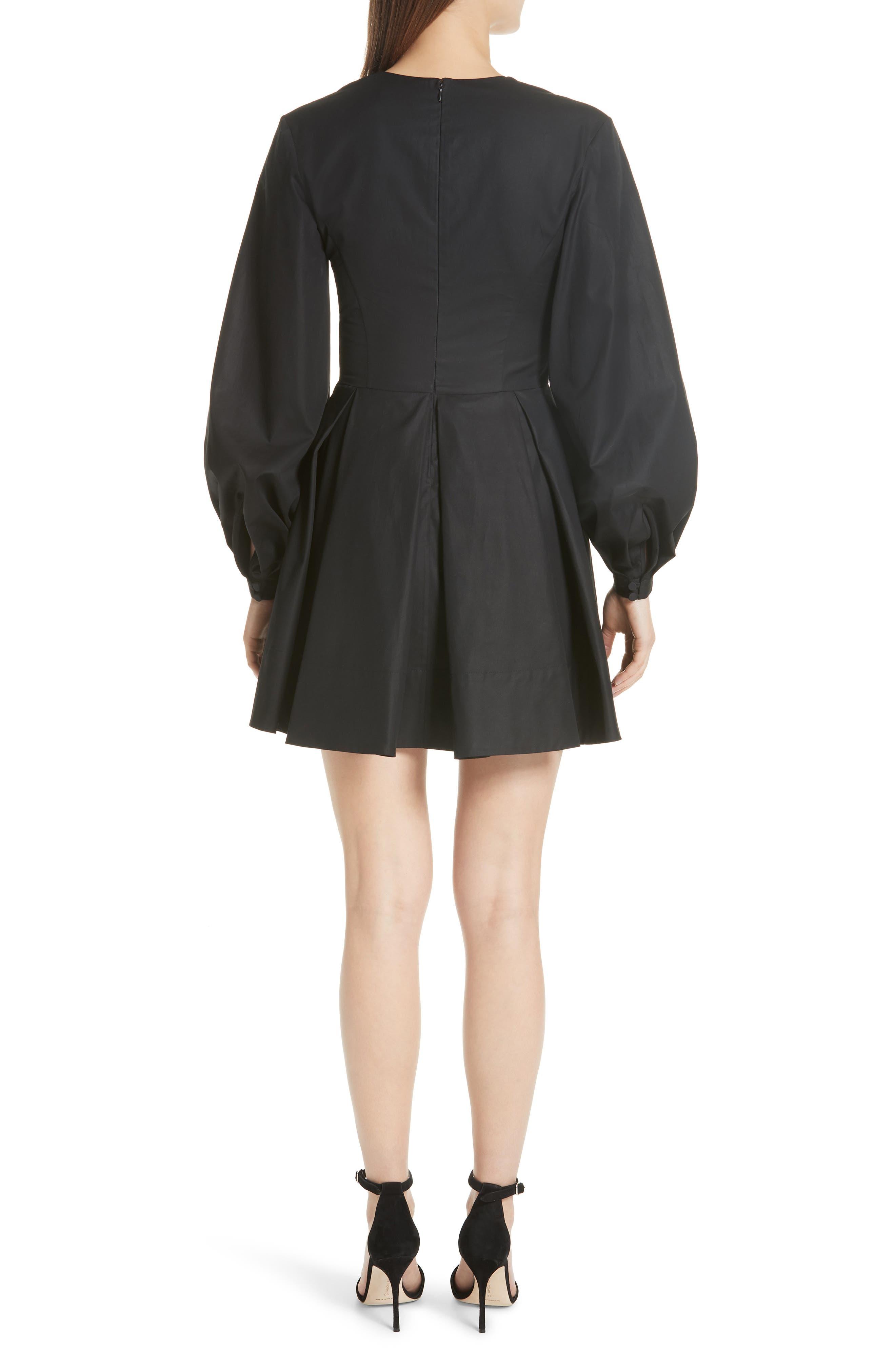 Denise Ballon Sleeve Minidress,                             Alternate thumbnail 2, color,                             BLACK