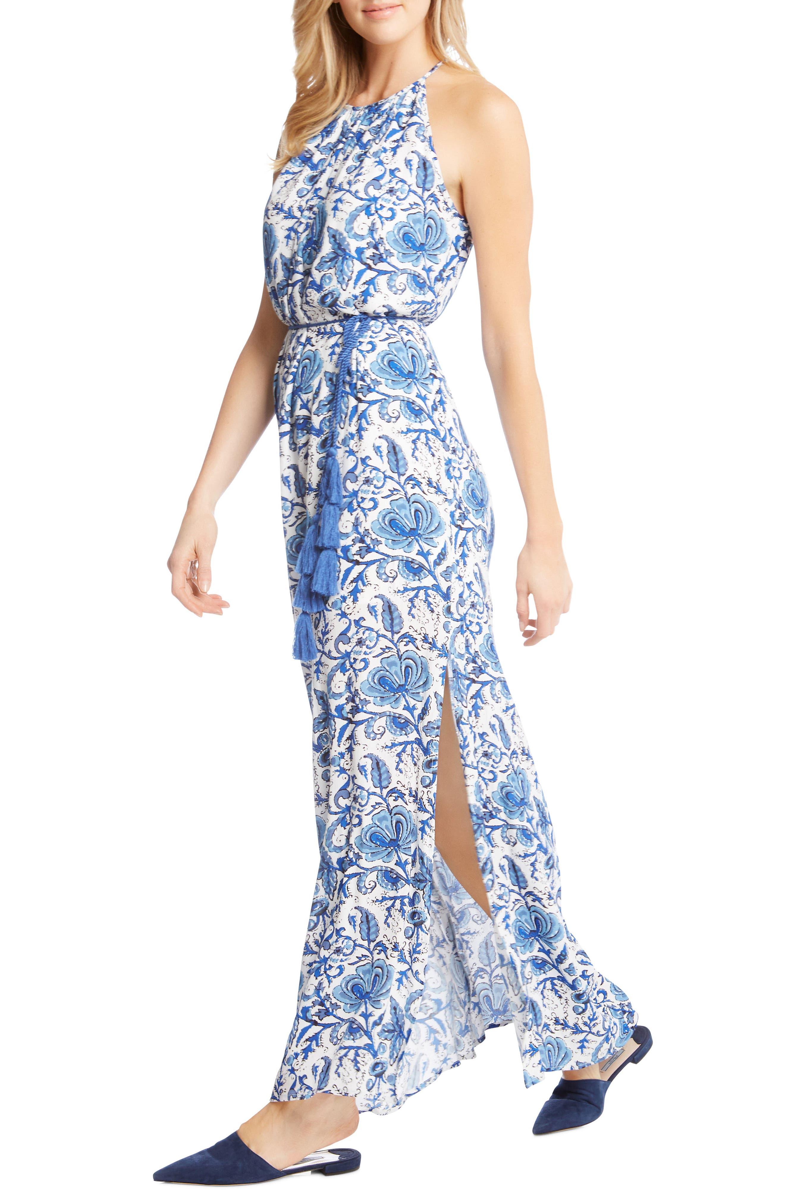 Halter Slit Side Maxi Crepe Dress,                             Alternate thumbnail 3, color,                             460