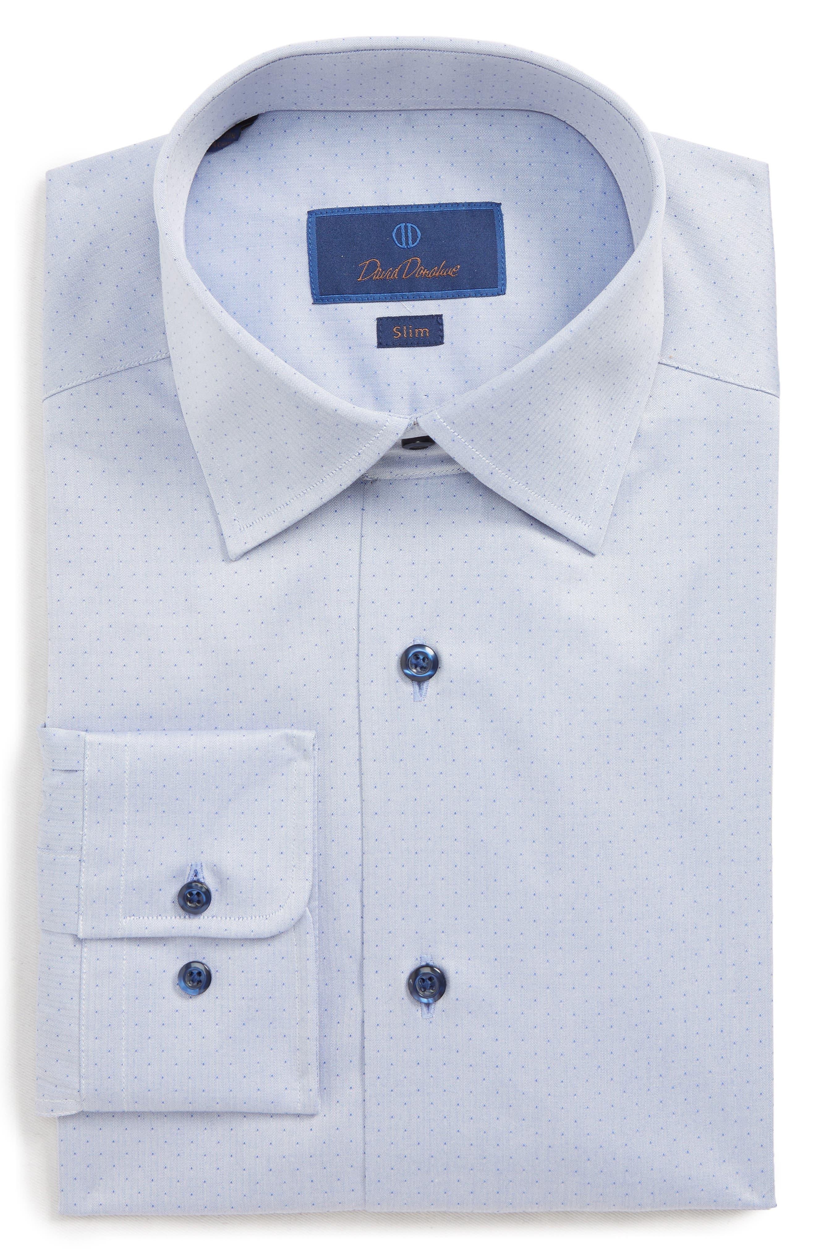Herringbone Dot Slim Fit Dress Shirt,                         Main,                         color, BLUE