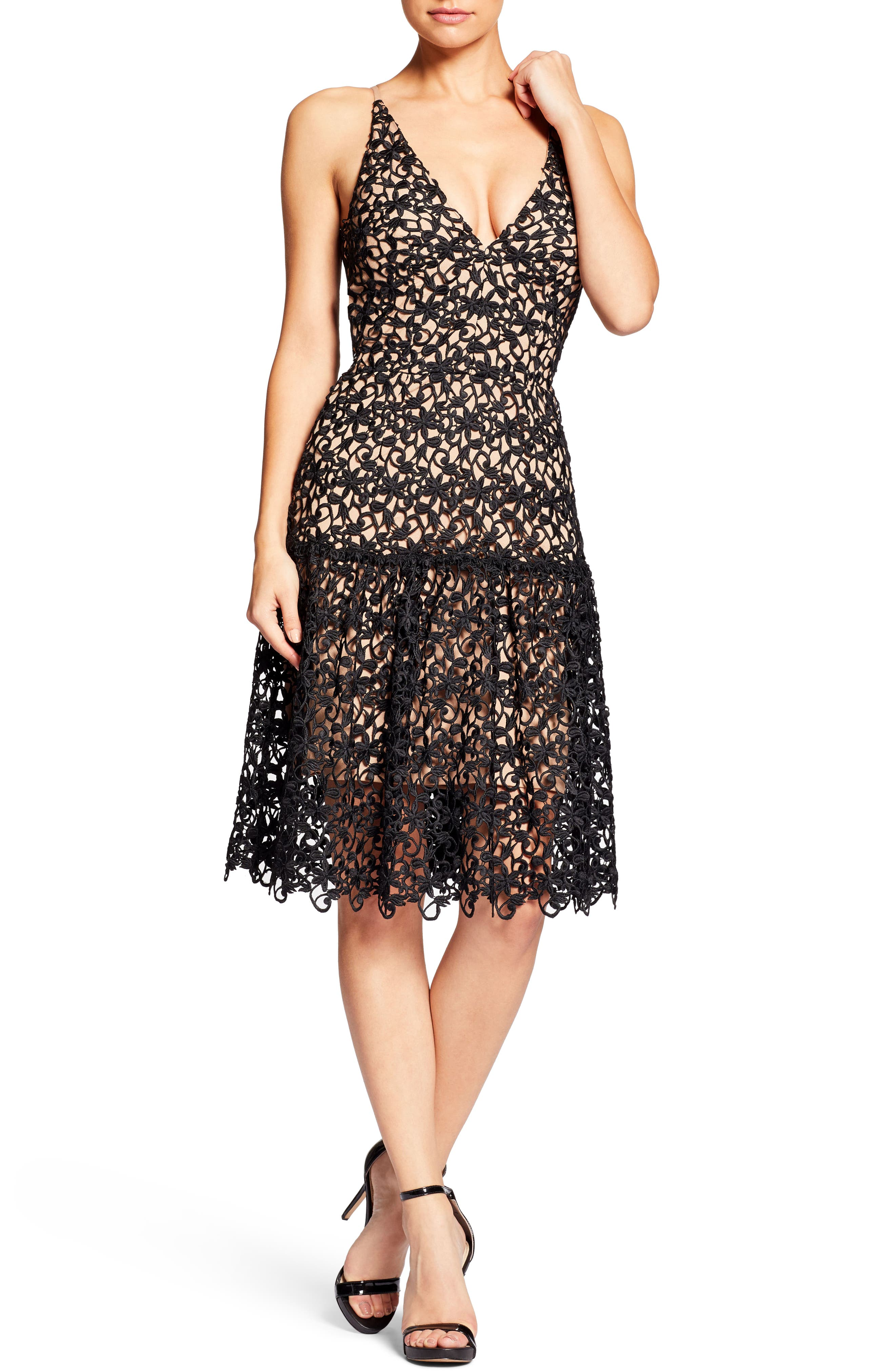 Lily Crochet Fit & Flare Dress,                             Main thumbnail 1, color,                             004