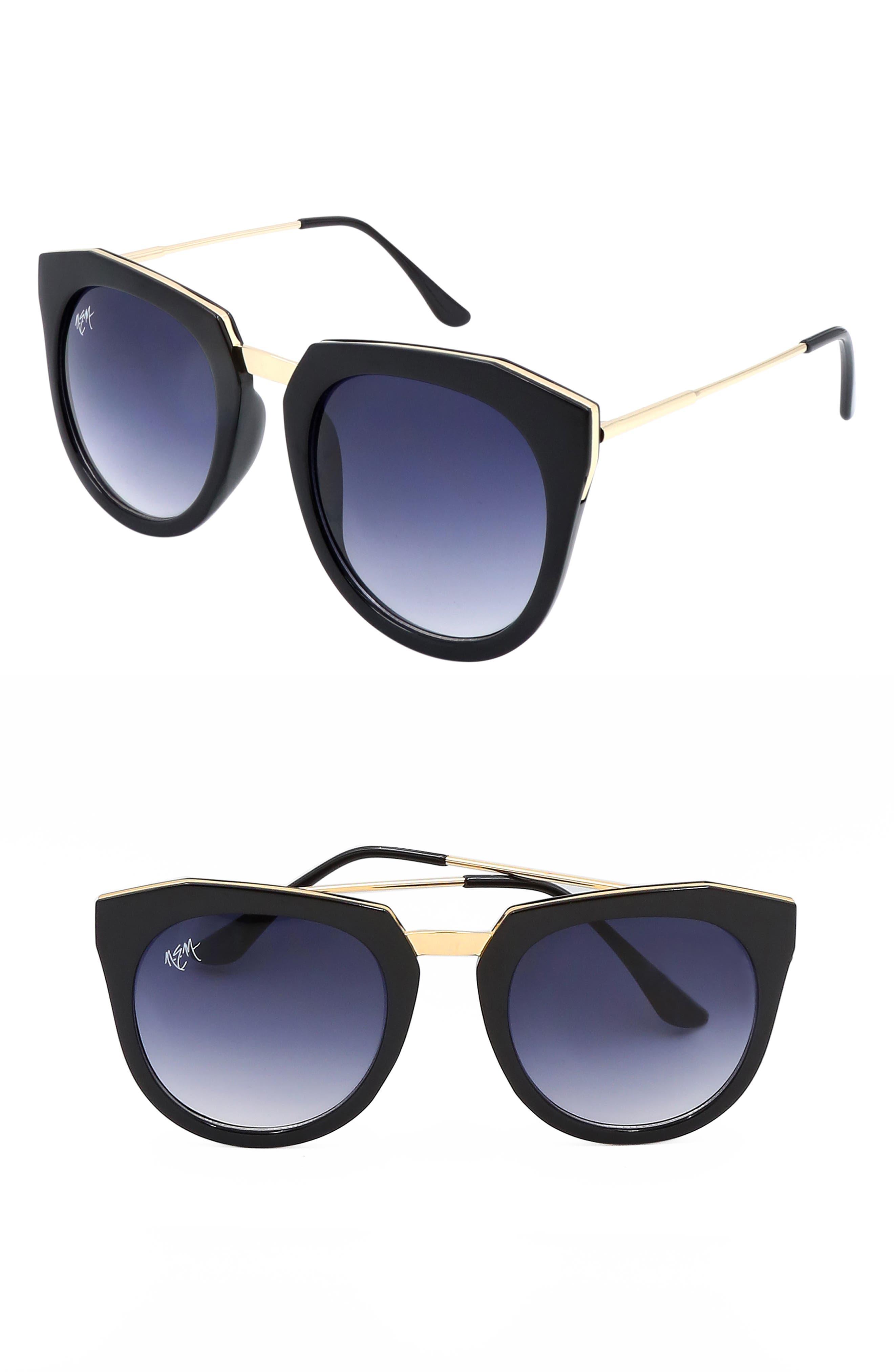 Nem Haute Line 55Mm Angular Sunglasses - Black W Grey Gradient Lens