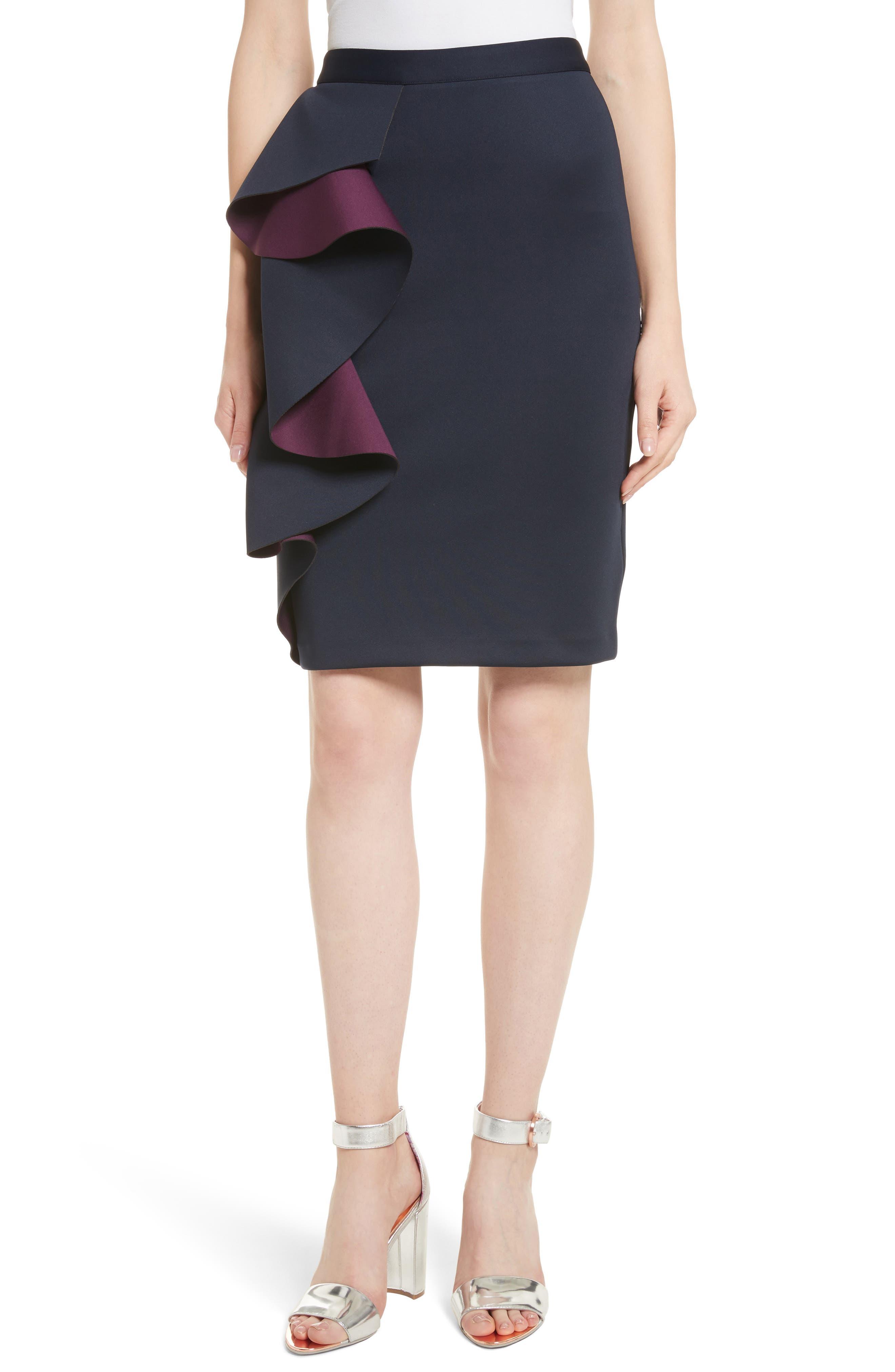 Derosa Oversize Ruffle Pencil Skirt,                             Main thumbnail 1, color,                             402