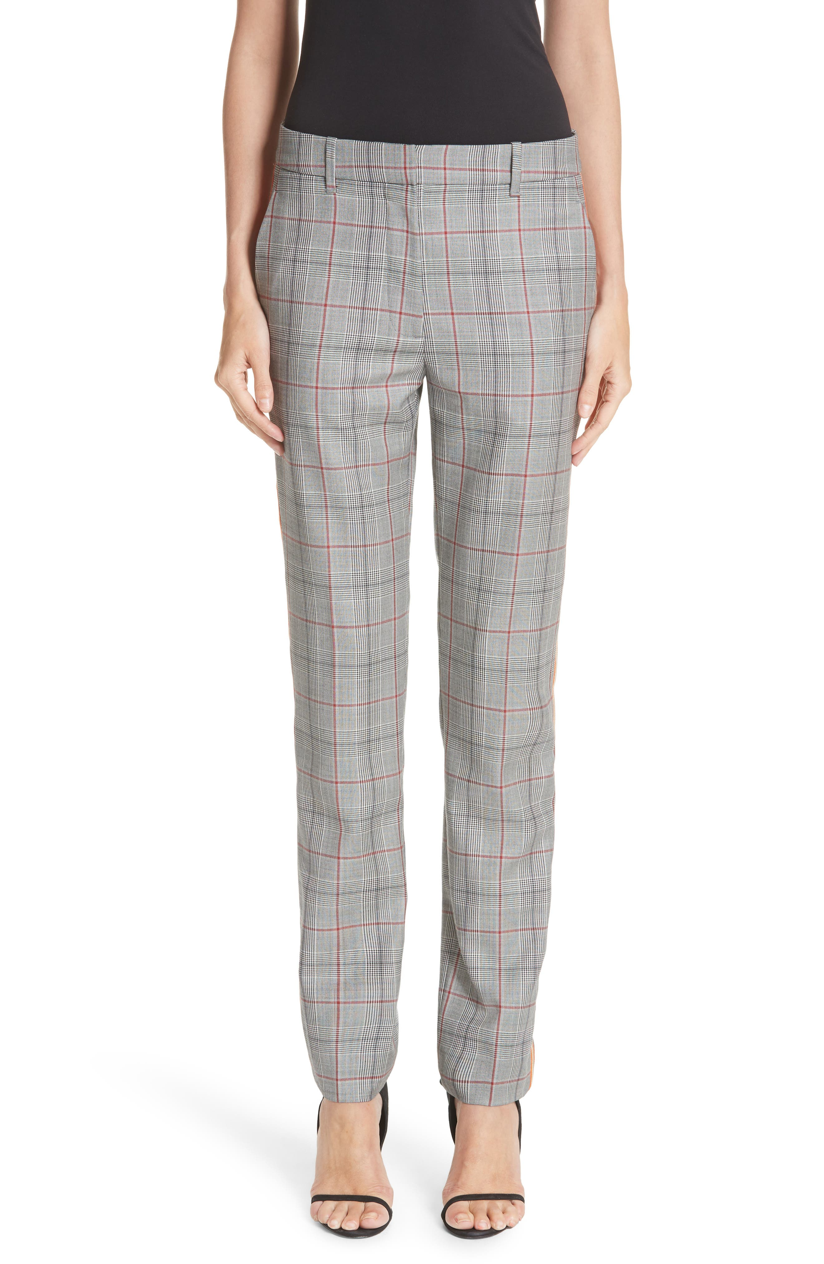 Side Stripe Plaid Wool Pants,                         Main,                         color, BLACK WHITE GRENADINE