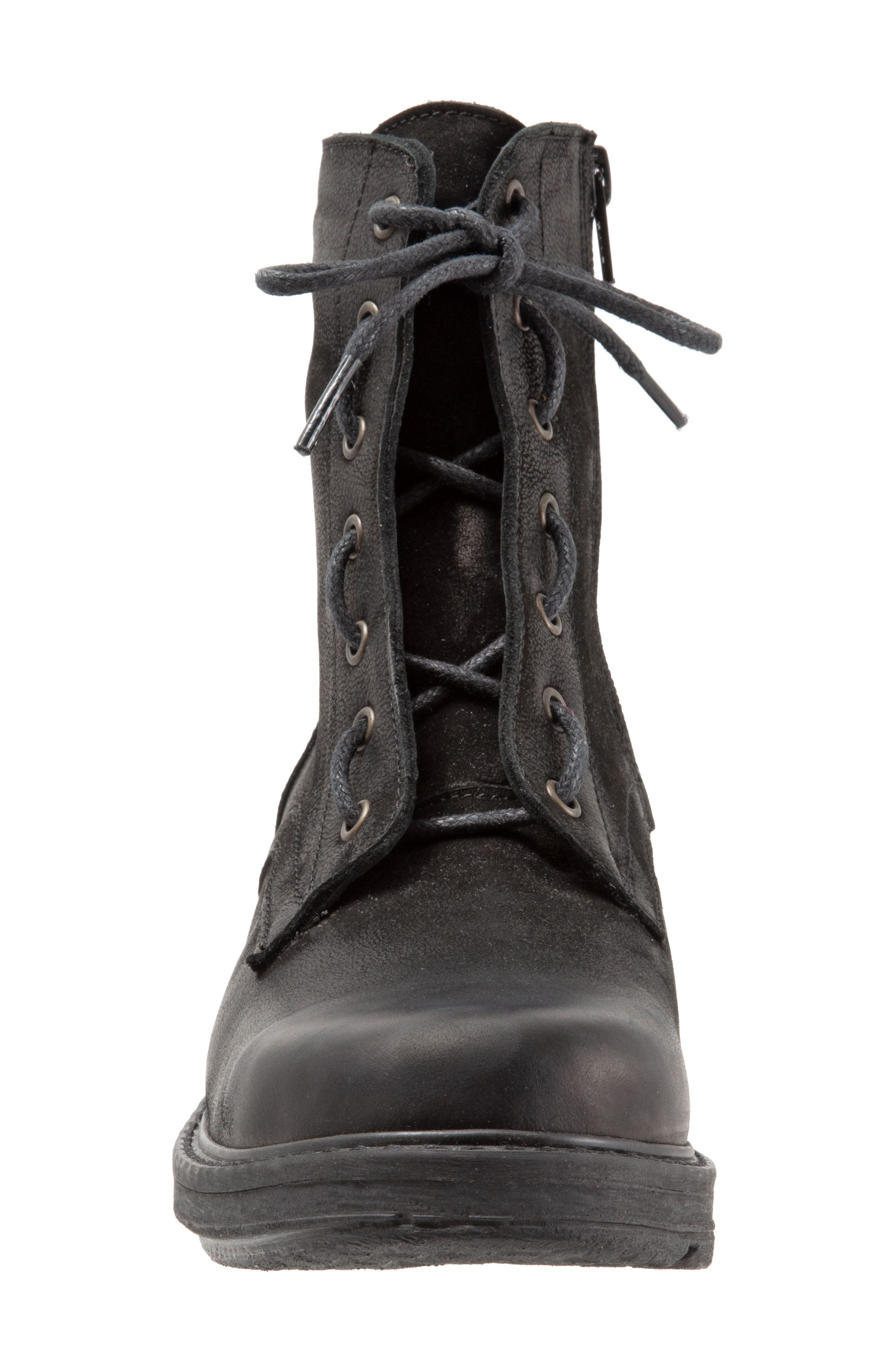 Getty Military Boot,                             Alternate thumbnail 4, color,                             BLACK NATURAL LEATHER