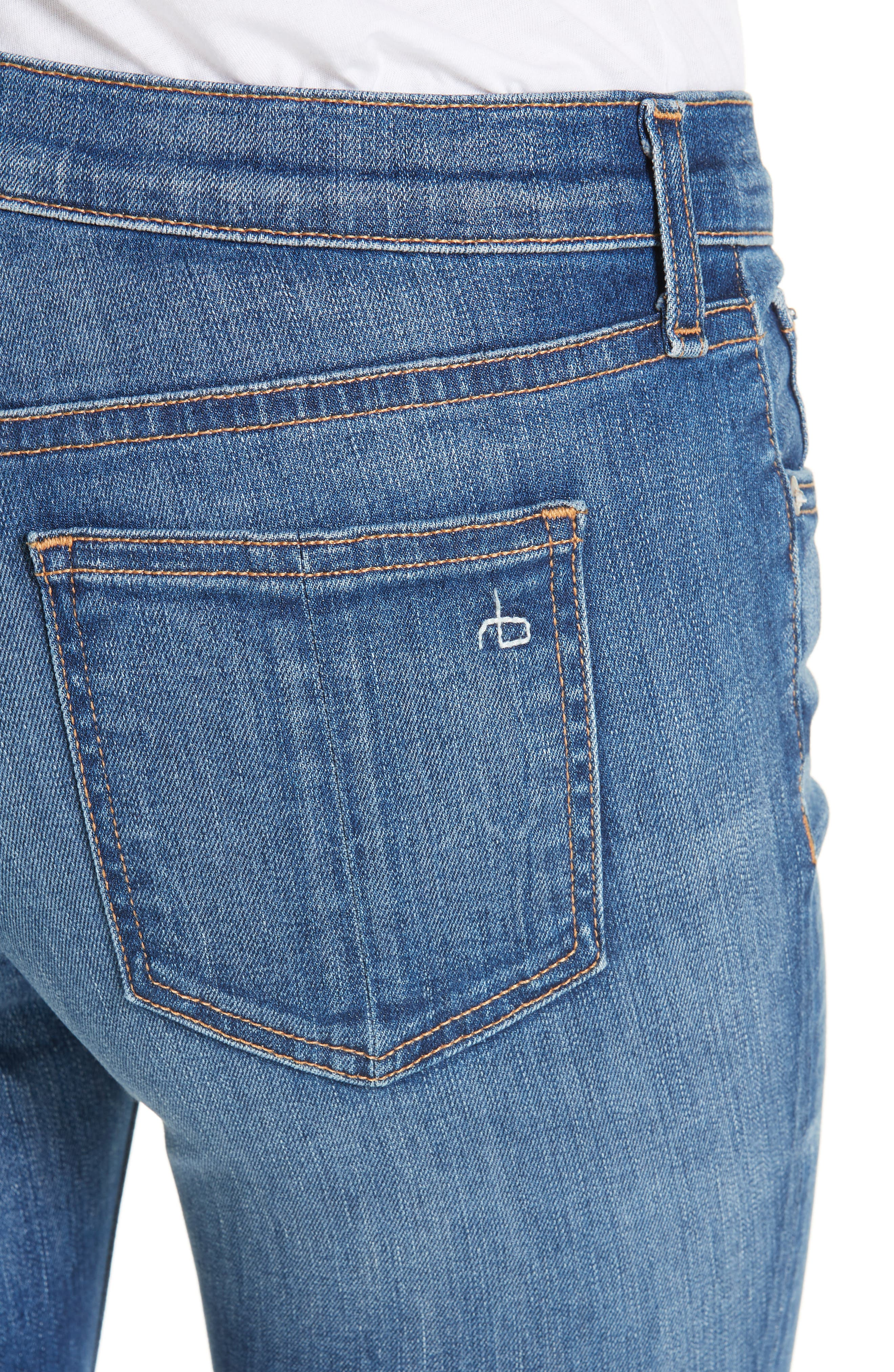 Raw Hem Ankle Skinny Jeans,                             Alternate thumbnail 4, color,                             BLAIR