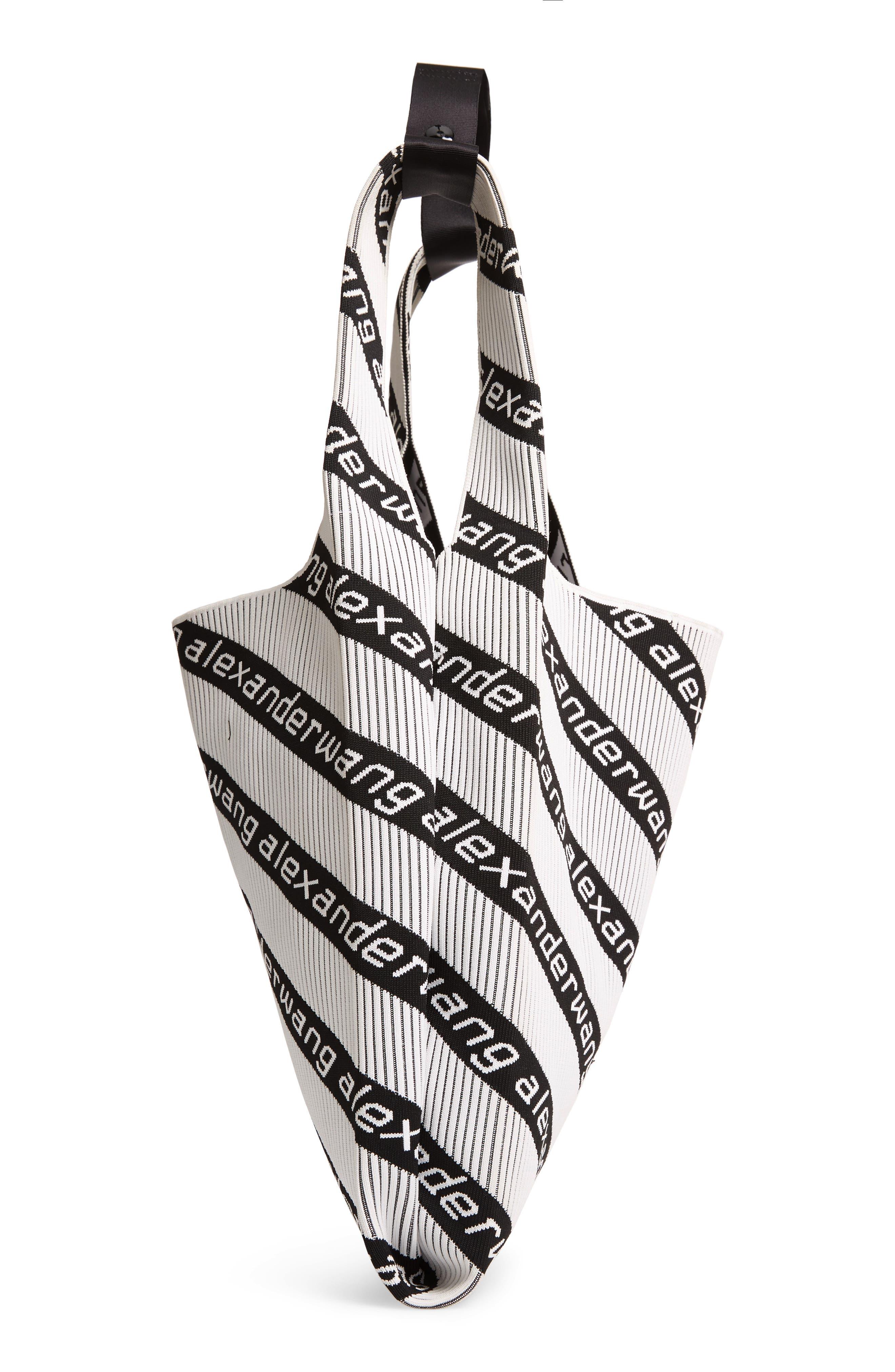 Logo Knit Jacquard Shopper,                             Alternate thumbnail 5, color,                             BLACK/ WHITE