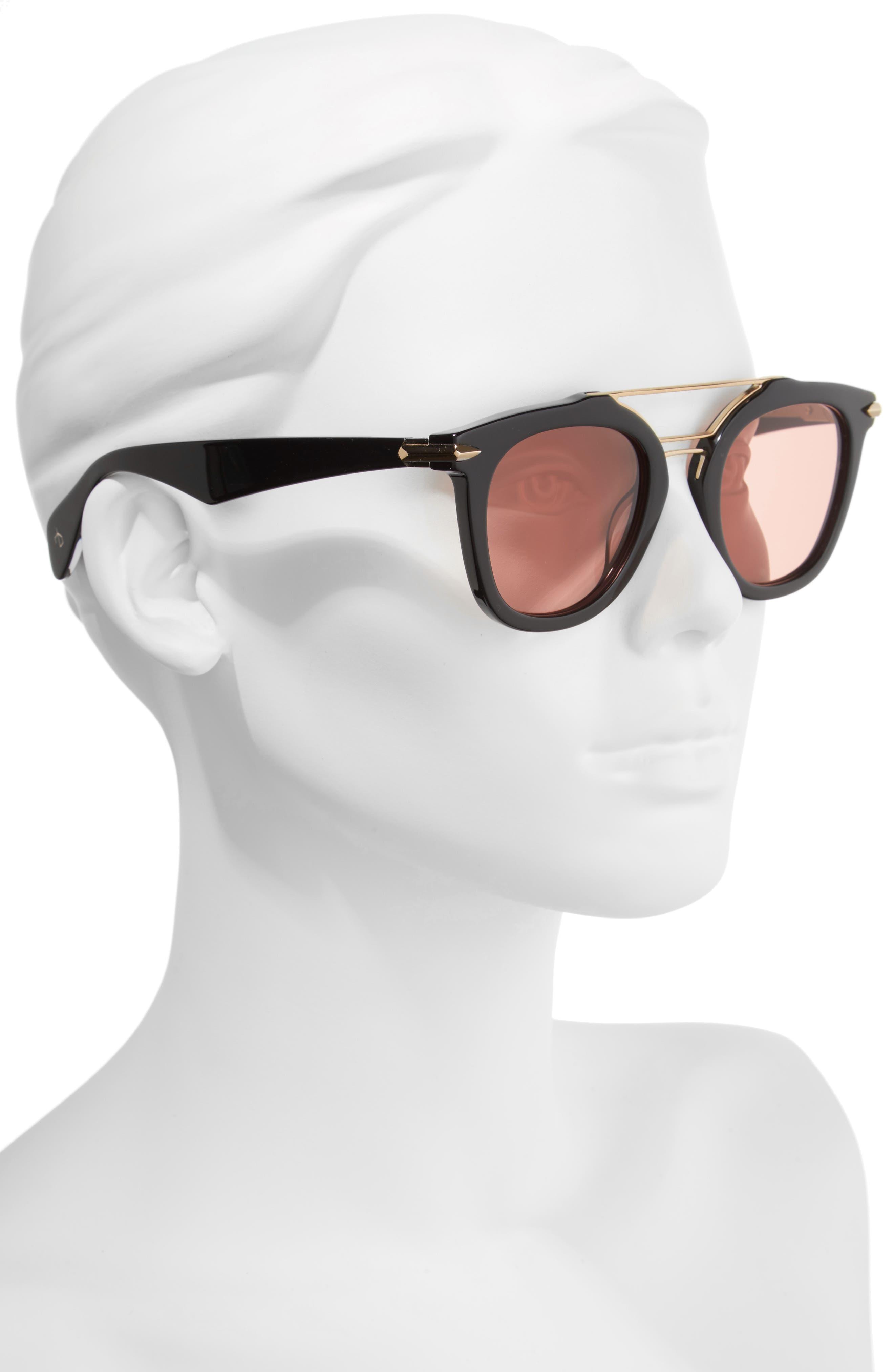 50mm Round Aviator Sunglasses,                             Alternate thumbnail 2, color,                             BLACK/ GOLD/ BRONZE