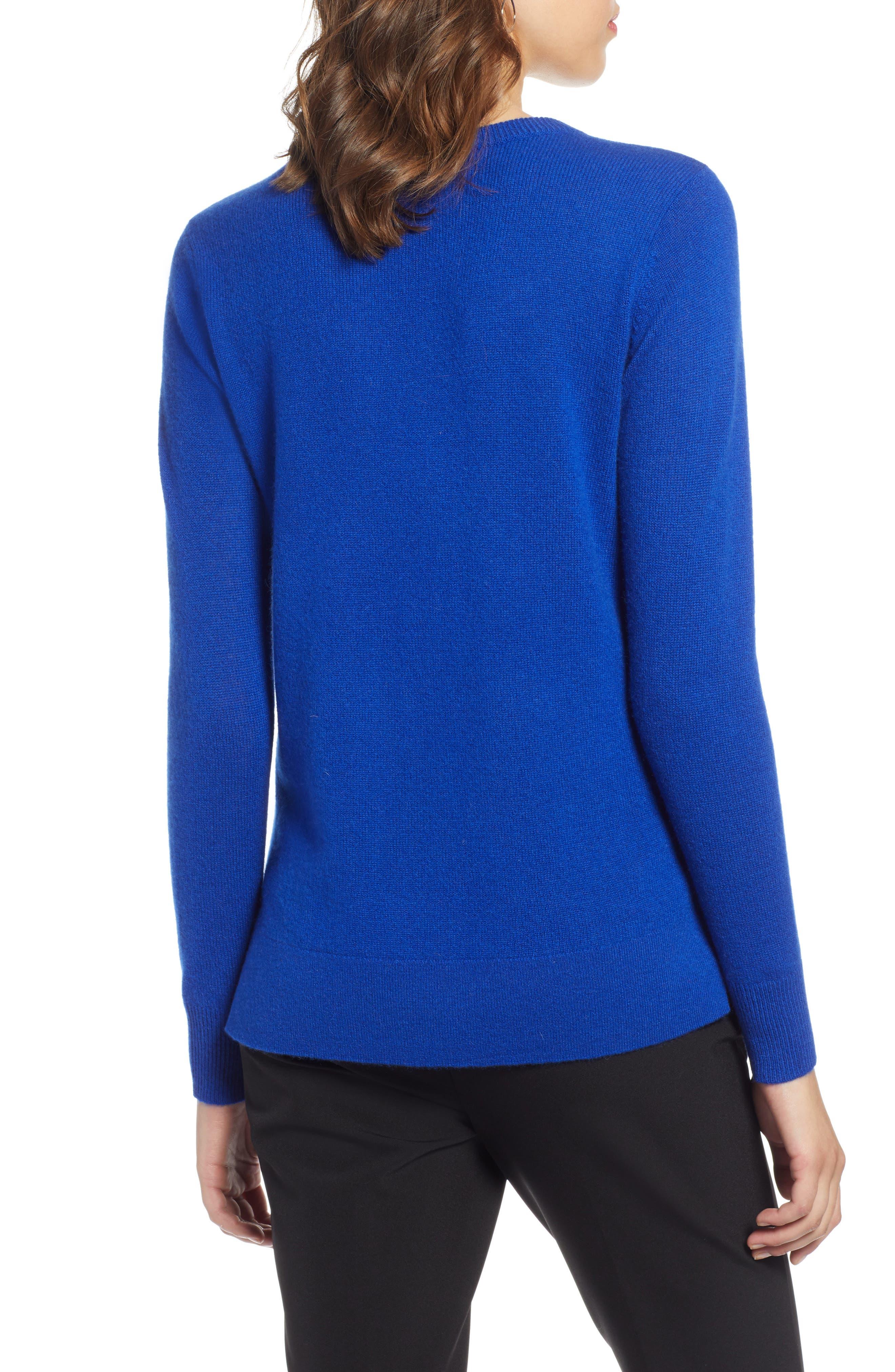 Crewneck Cashmere Sweater,                             Alternate thumbnail 2, color,                             BLUE MAZARINE