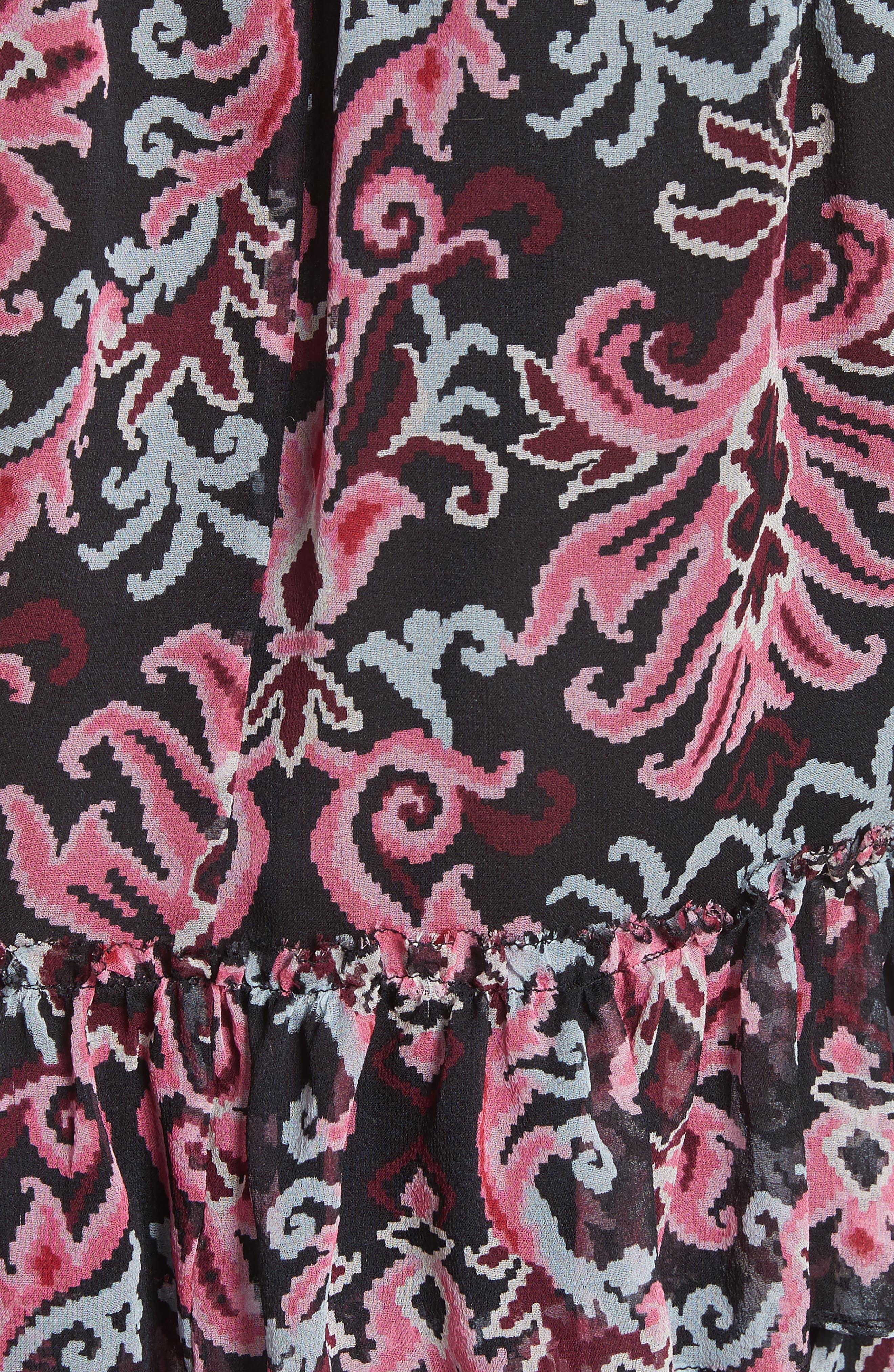 tapestry silk chiffon ruffle top,                             Alternate thumbnail 5, color,