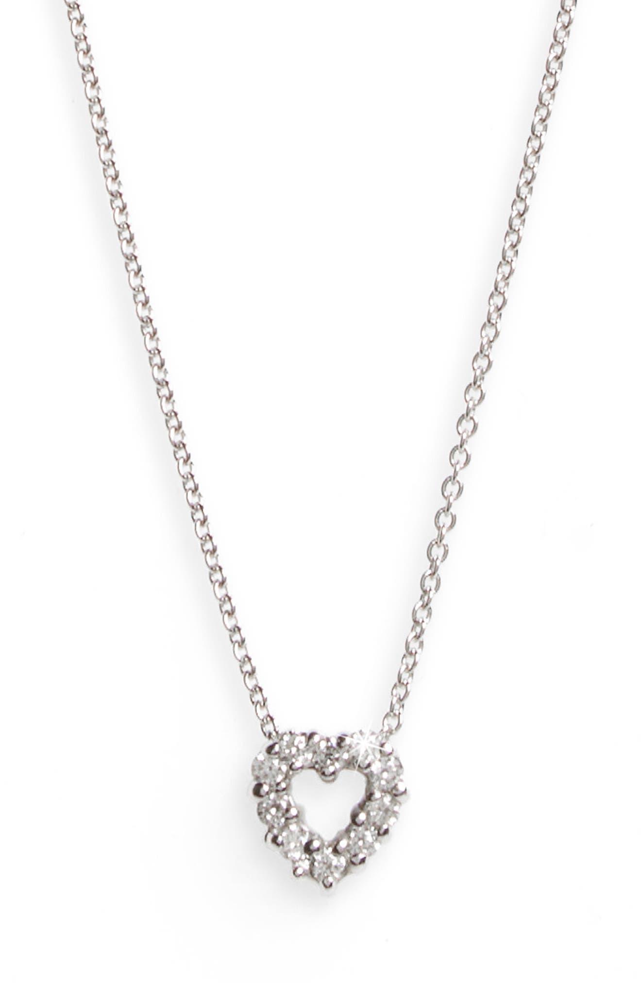 'Tiny Treasures' Diamond Heart Pendant Necklace,                             Alternate thumbnail 2, color,                             WHITE GOLD