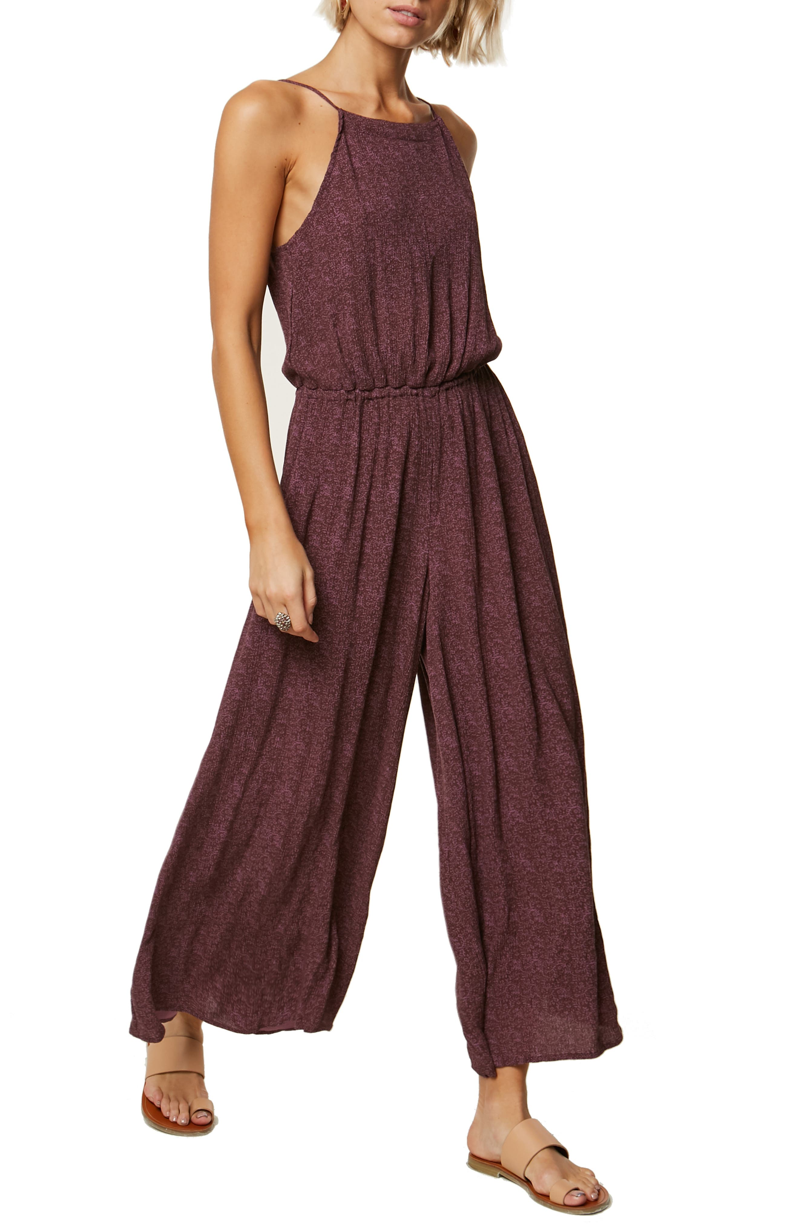 Claudia Wide Leg Jumpsuit,                             Main thumbnail 1, color,                             FRENCH ROAST