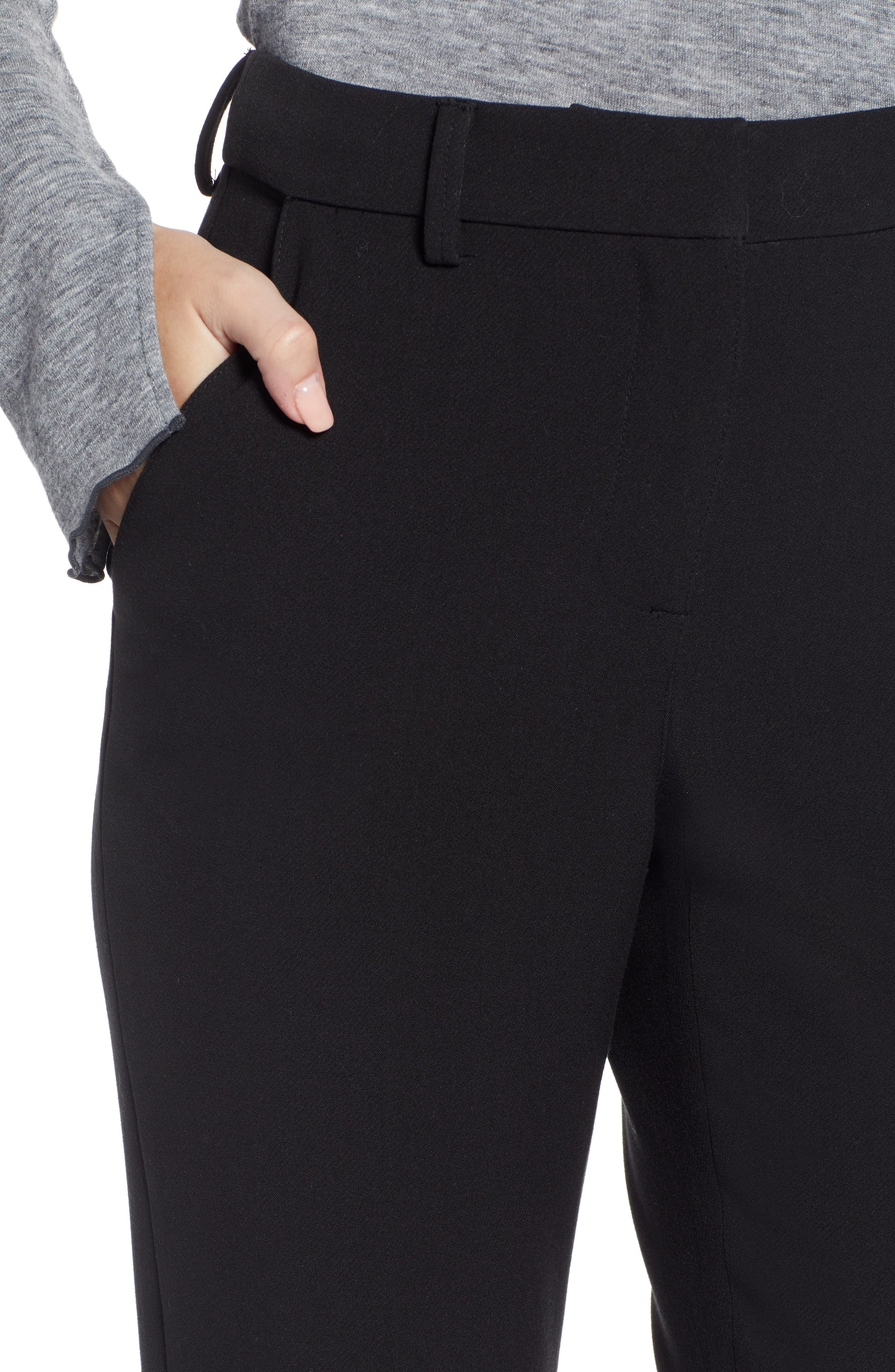 SOMETHING NAVY,                             Flat Front Trousers,                             Alternate thumbnail 5, color,                             BLACK