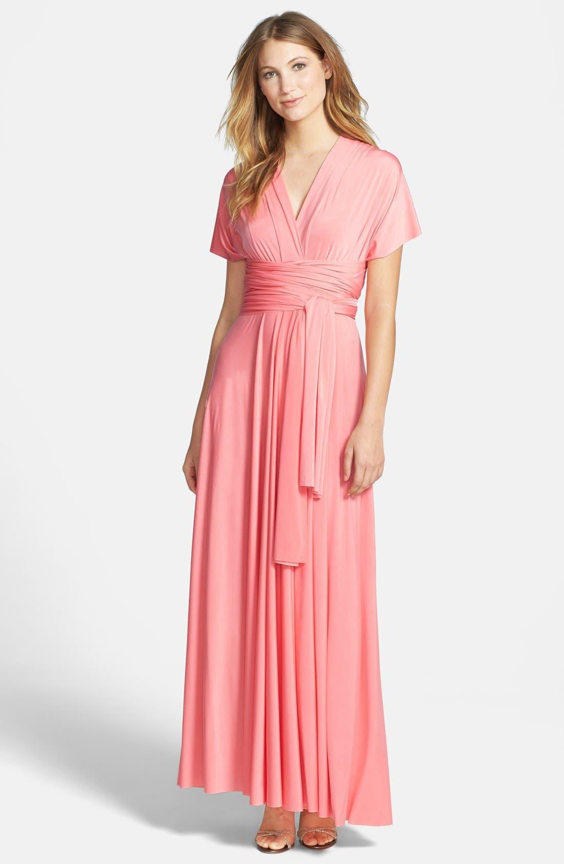 Convertible Wrap Tie Surplice Jersey Gown,                             Main thumbnail 5, color,