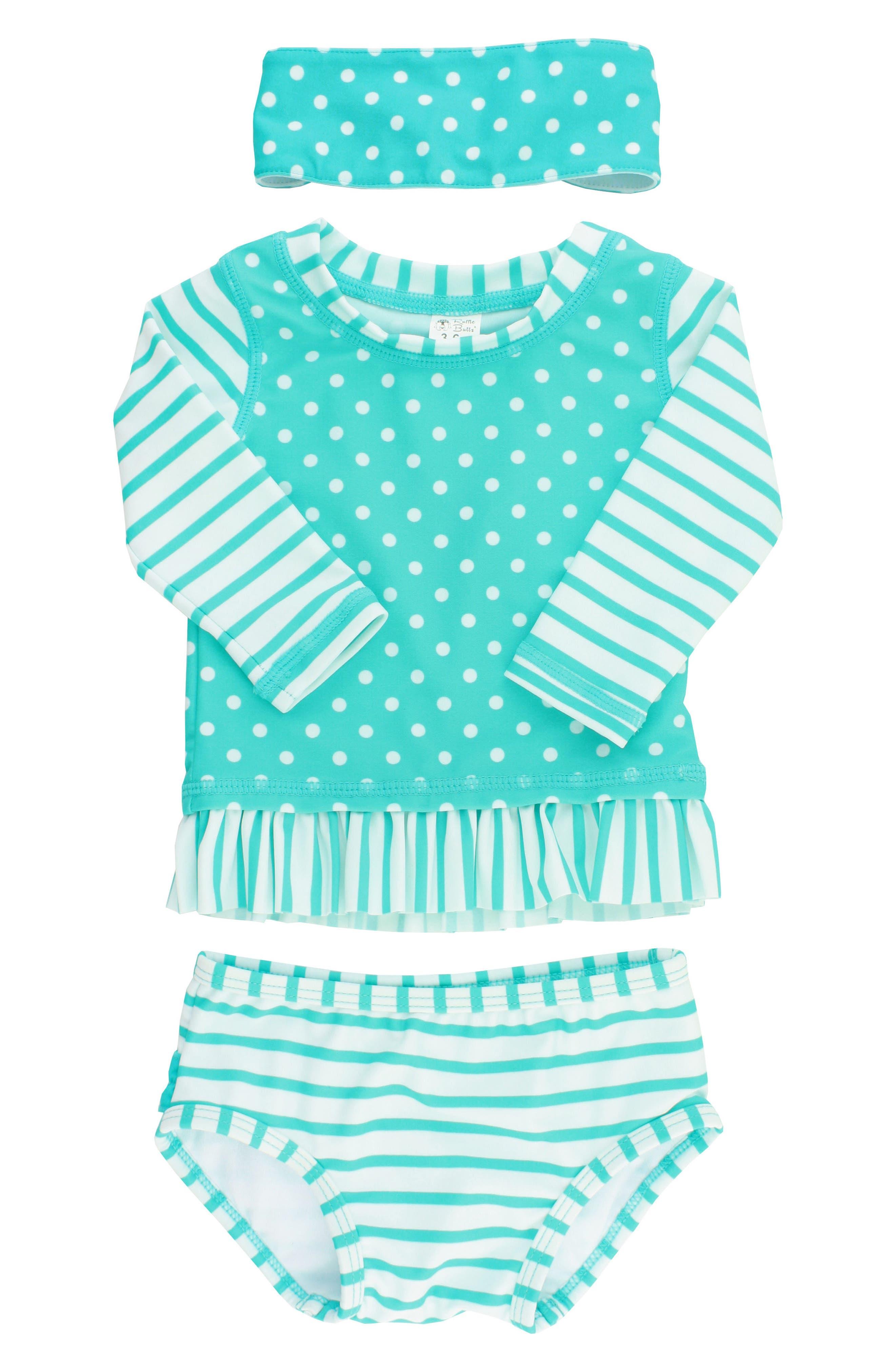 Two-Piece Rashguard Swimsuit & Head Wrap Set,                             Main thumbnail 1, color,                             AQUA