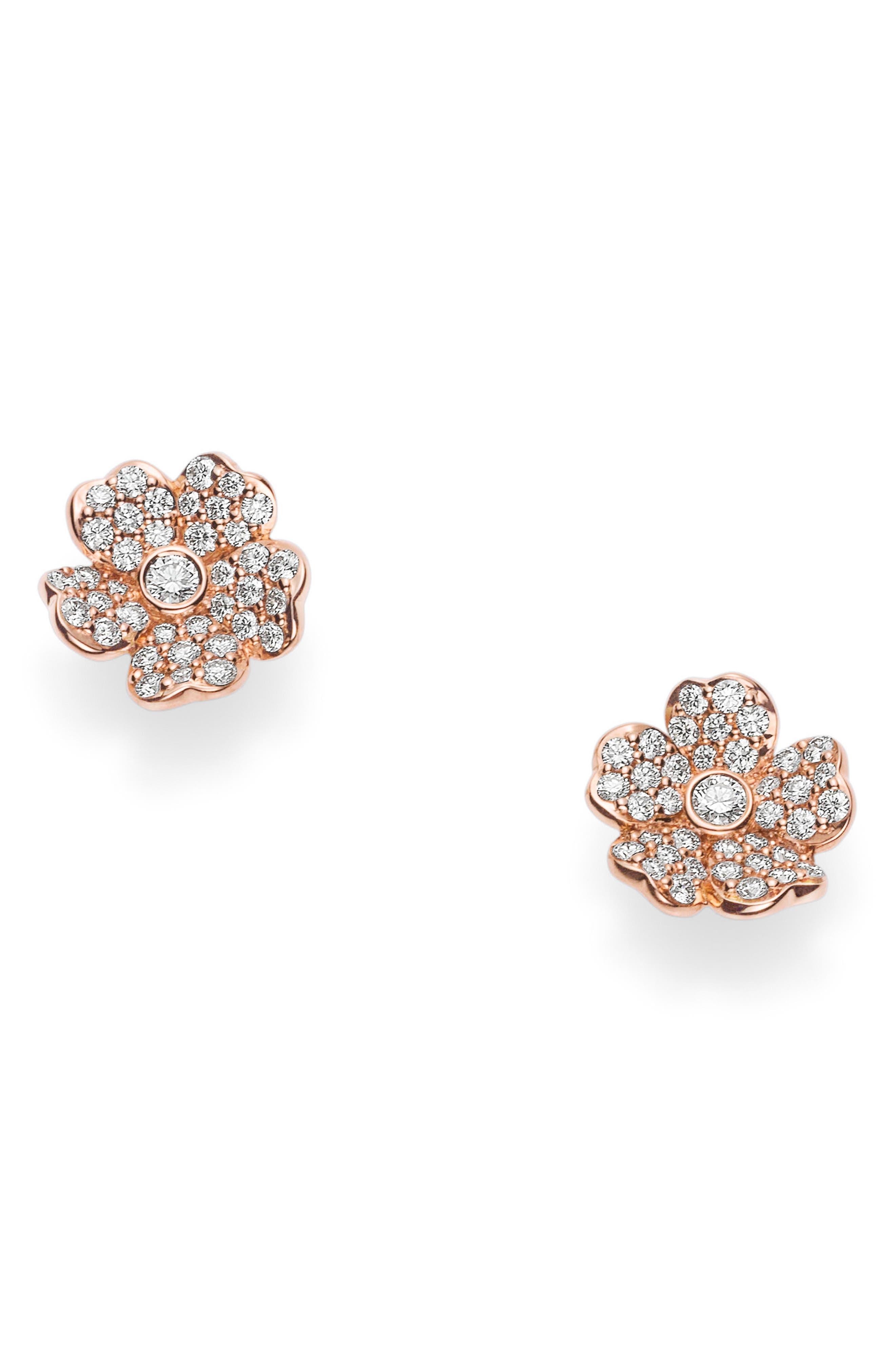 Diamond Flower Stud Earrings,                             Main thumbnail 1, color,                             ROSE GOLD