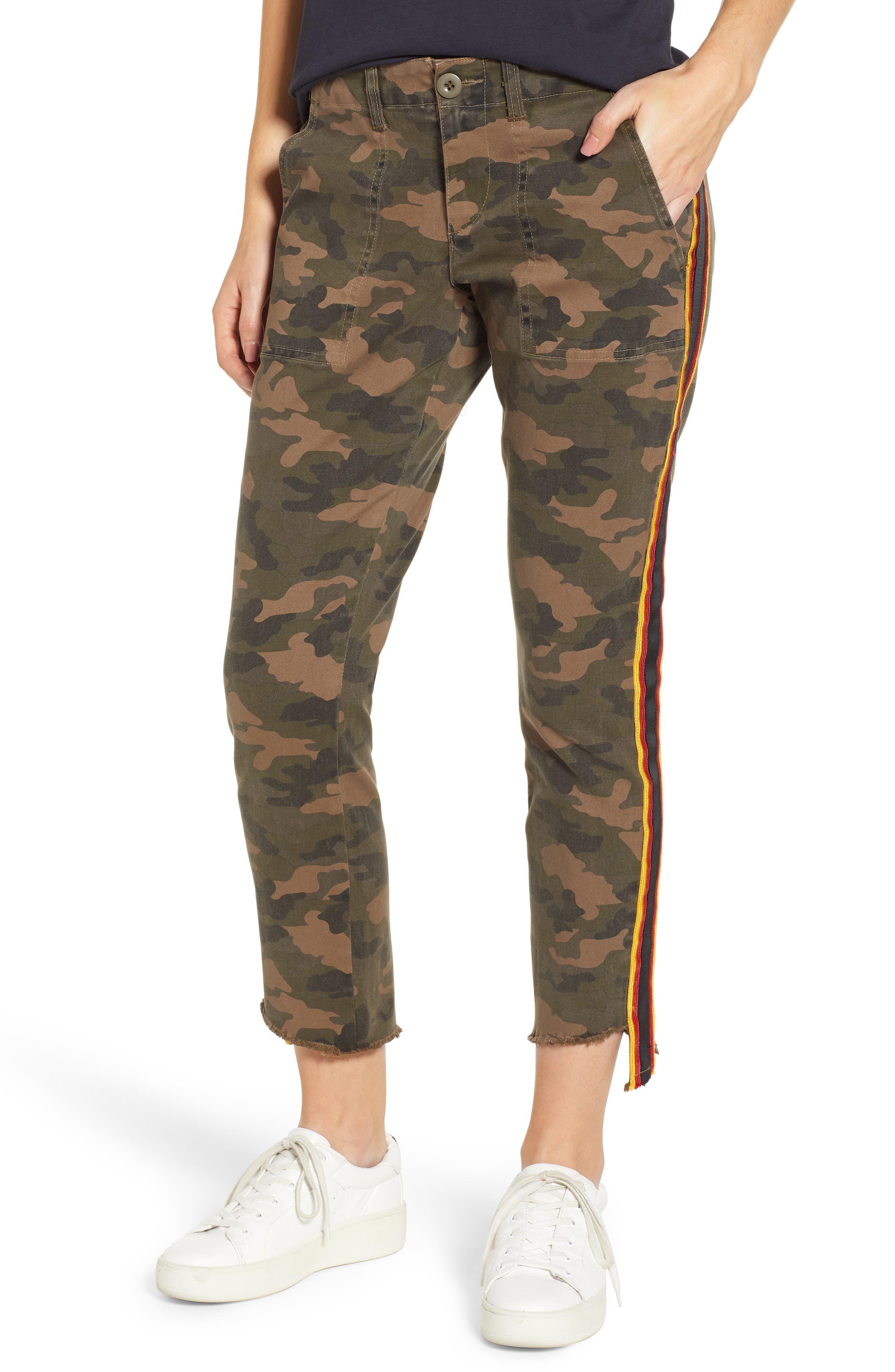 Uniform Stripe Step Hem Pants,                             Main thumbnail 1, color,                             ARMY