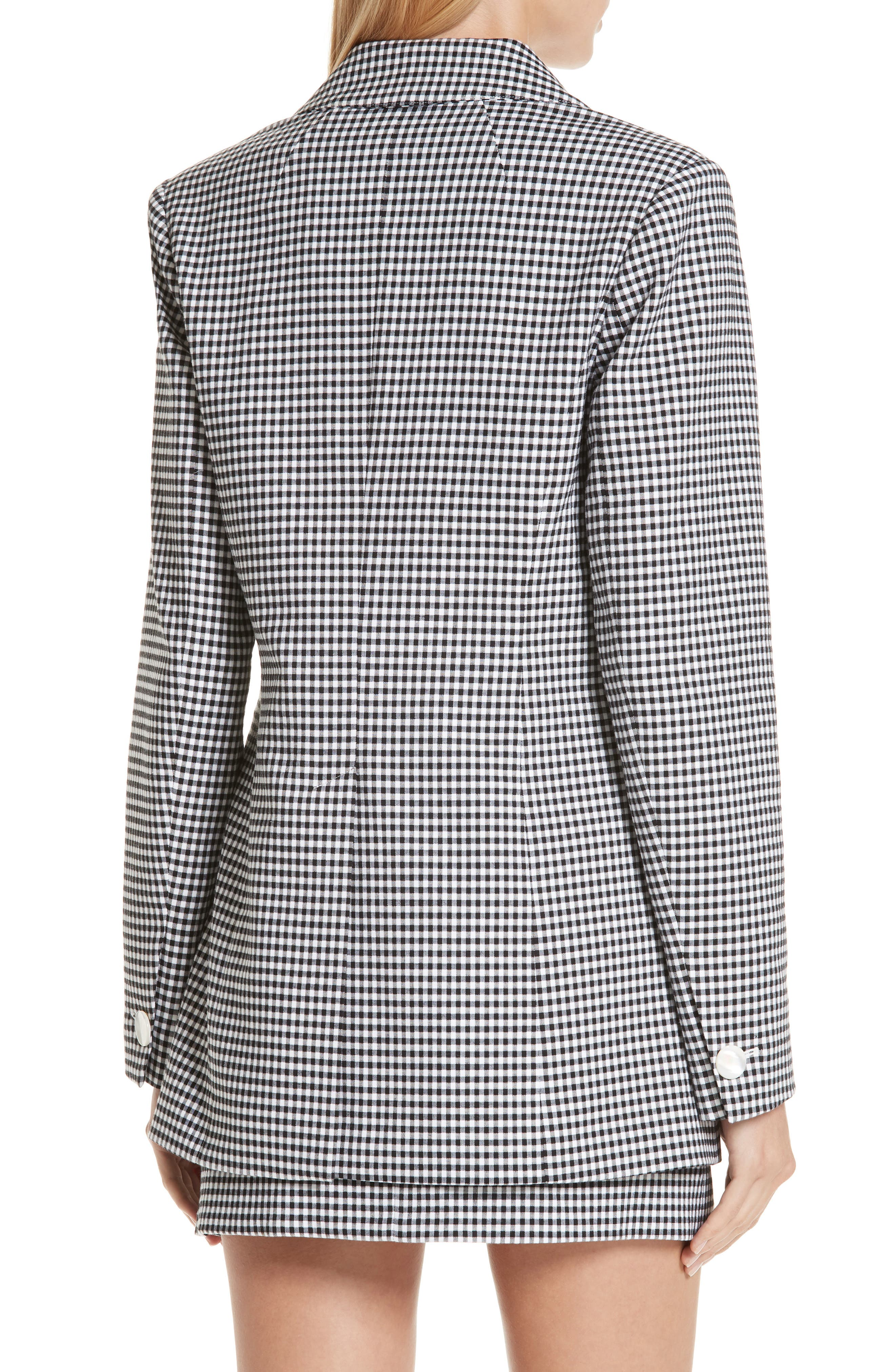 Lexy Mini Check Double Breasted Jacket,                             Alternate thumbnail 2, color,                             BLACK/ WHITE
