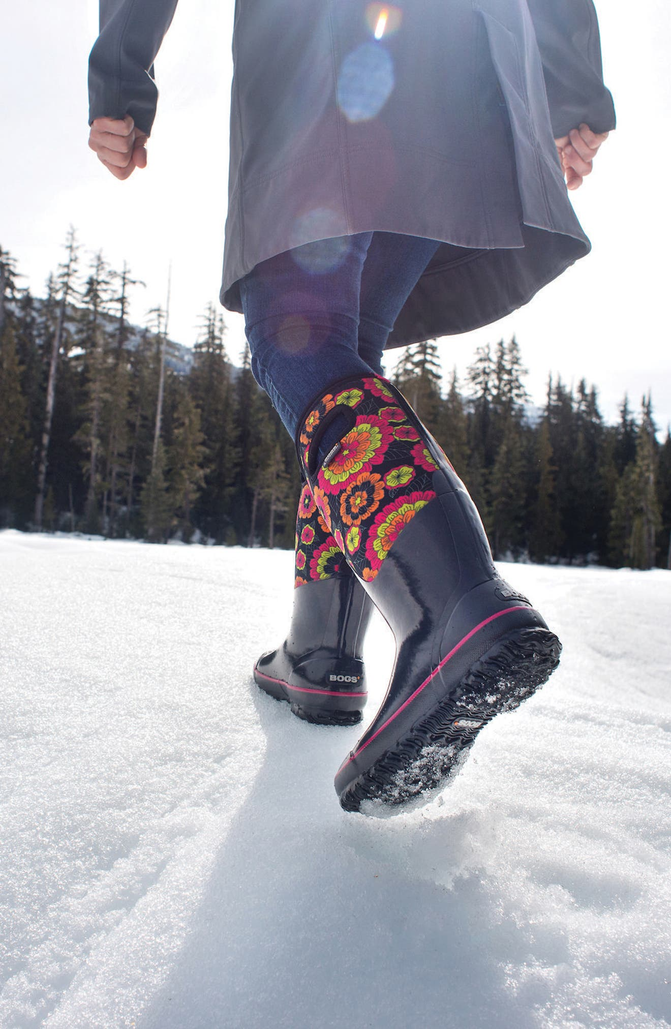 Classic Pansies Waterproof Insulated Boot,                             Alternate thumbnail 7, color,                             010
