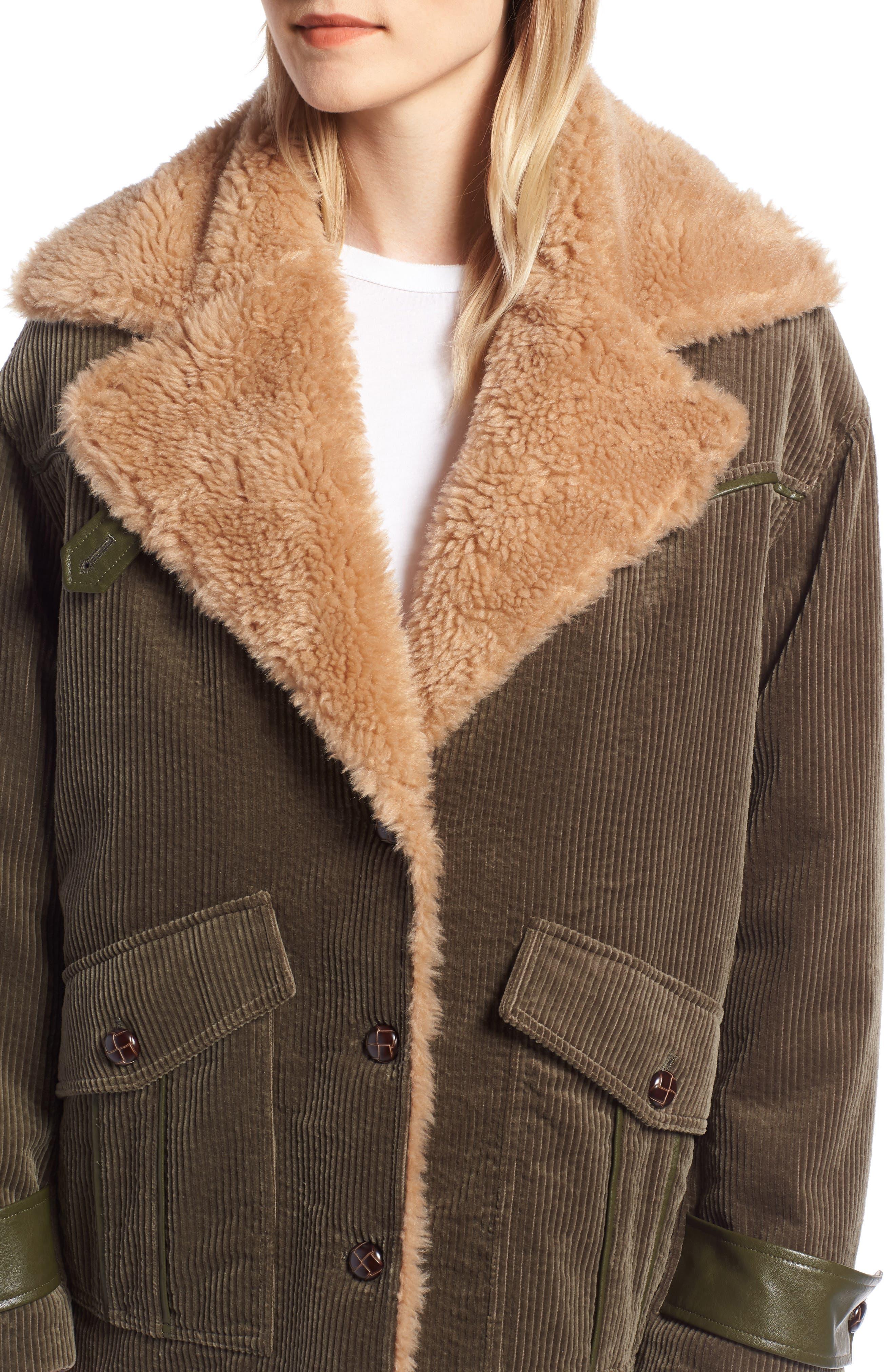 AVEC LES FILLES,                             Corduroy & Faux Shearling Trim Jacket,                             Alternate thumbnail 4, color,                             301