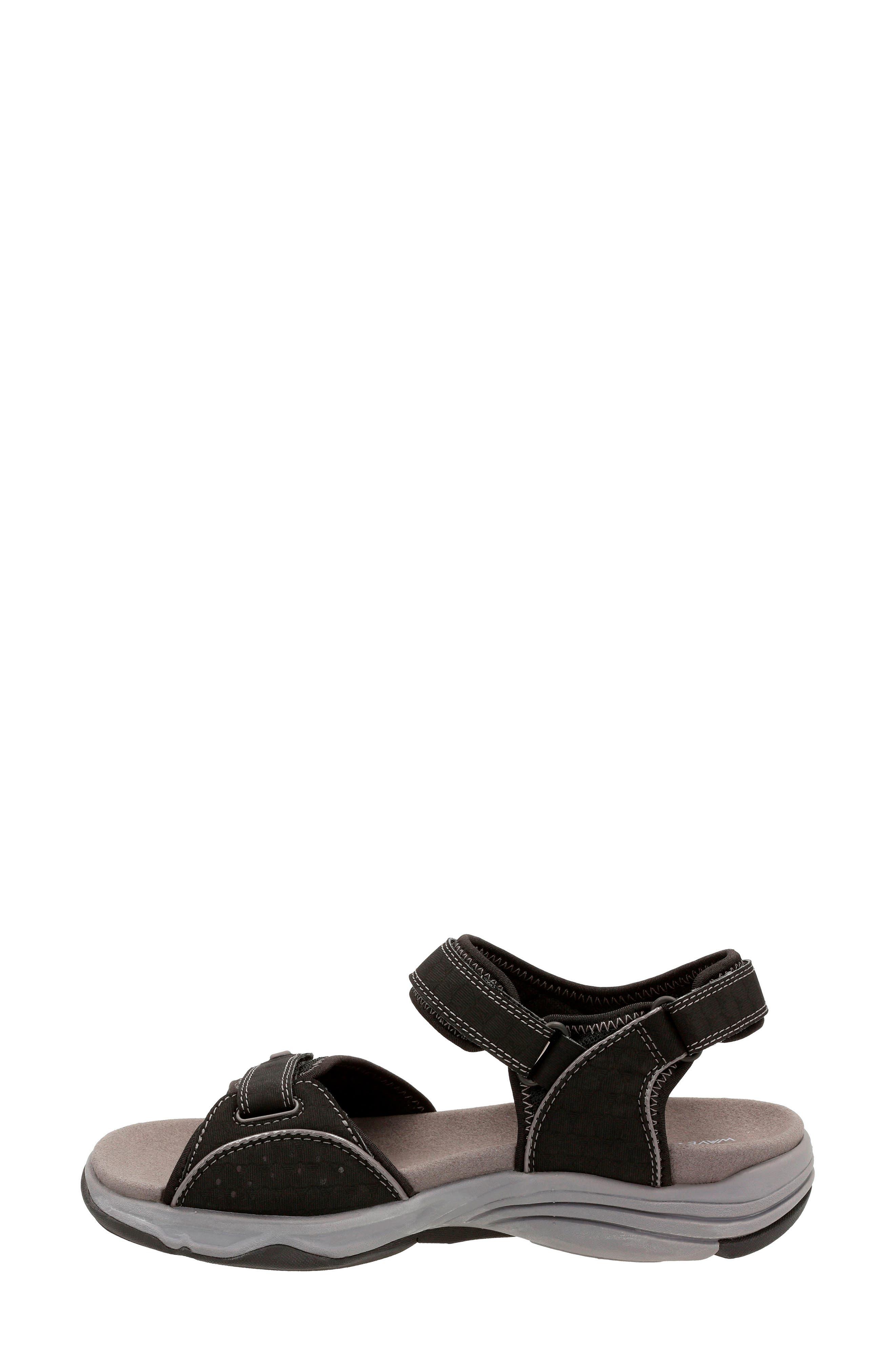Wave Grip Sandal,                             Alternate thumbnail 2, color,                             BLACK FABRIC