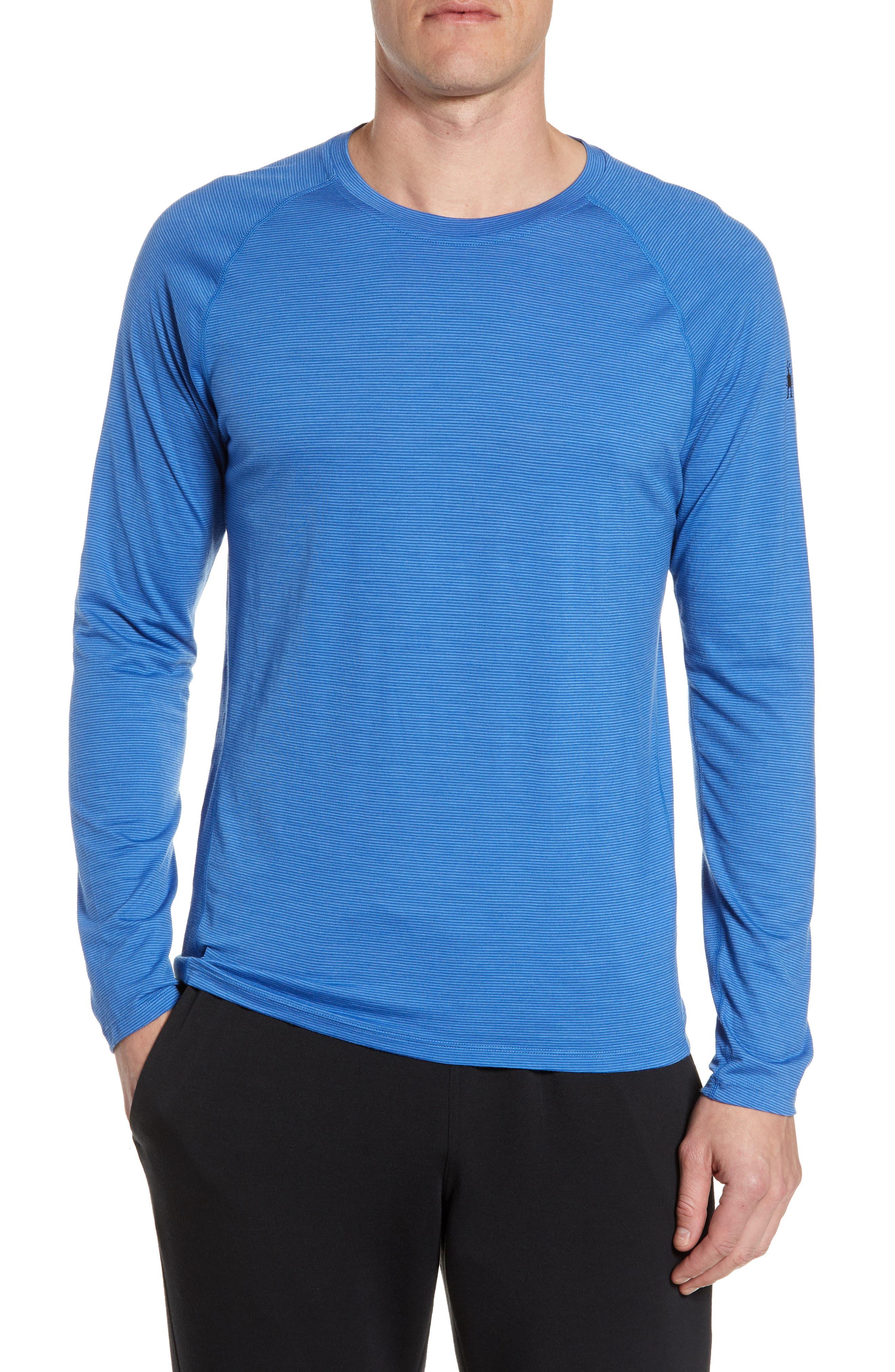 Smartwool Stripe Merino Blend T-Shirt, Blue